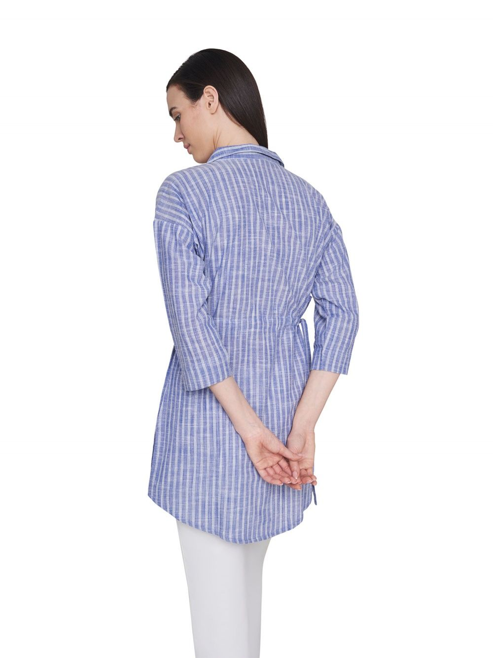 e7eaca58354 AND Tunics : Buy AND Blue Stripe Side Tie-Up Tunic Online | Nykaa Fashion.