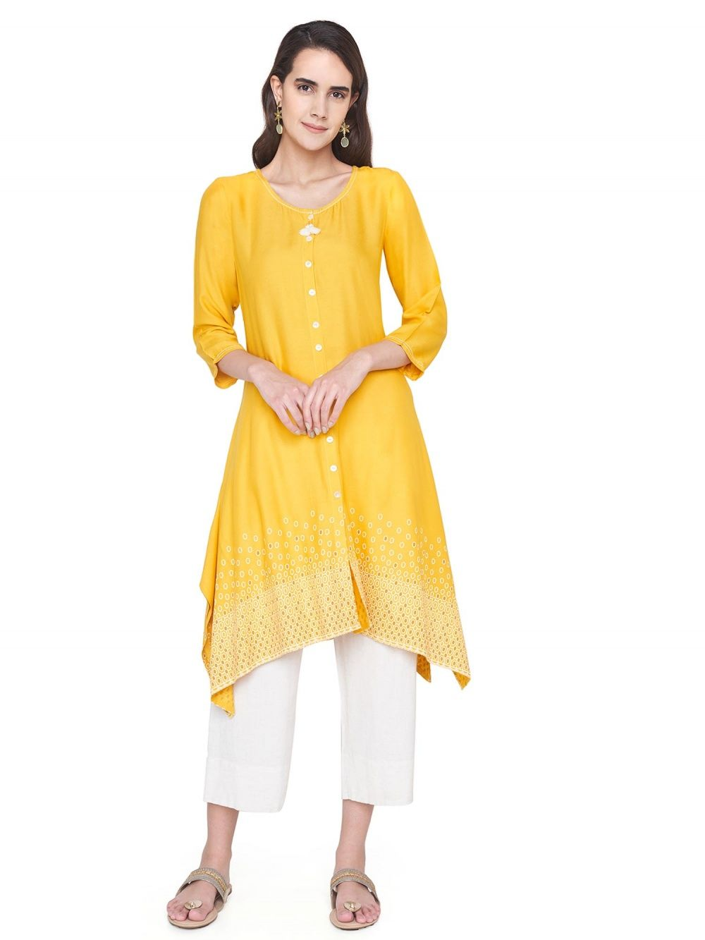 a17111148 Global Desi Kurtis Kurtas and Tunics   Buy Global Desi Mustard ...