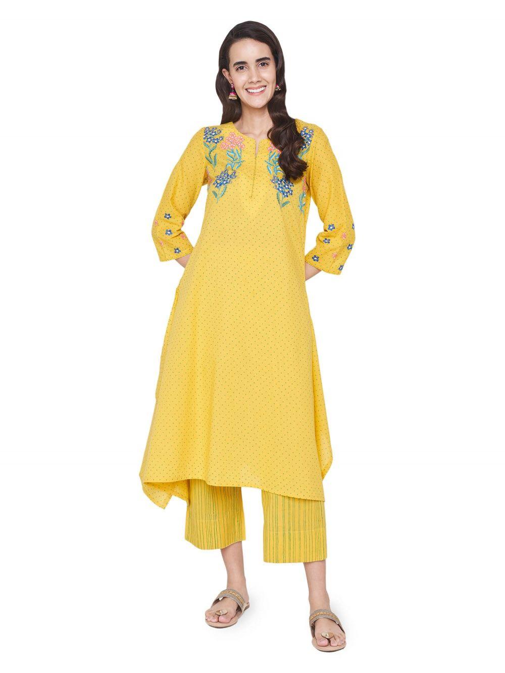 89ba6ecf5ef52 Global Desi Kurtis Kurtas and Tunics : Buy Global Desi Yellow Floral ...
