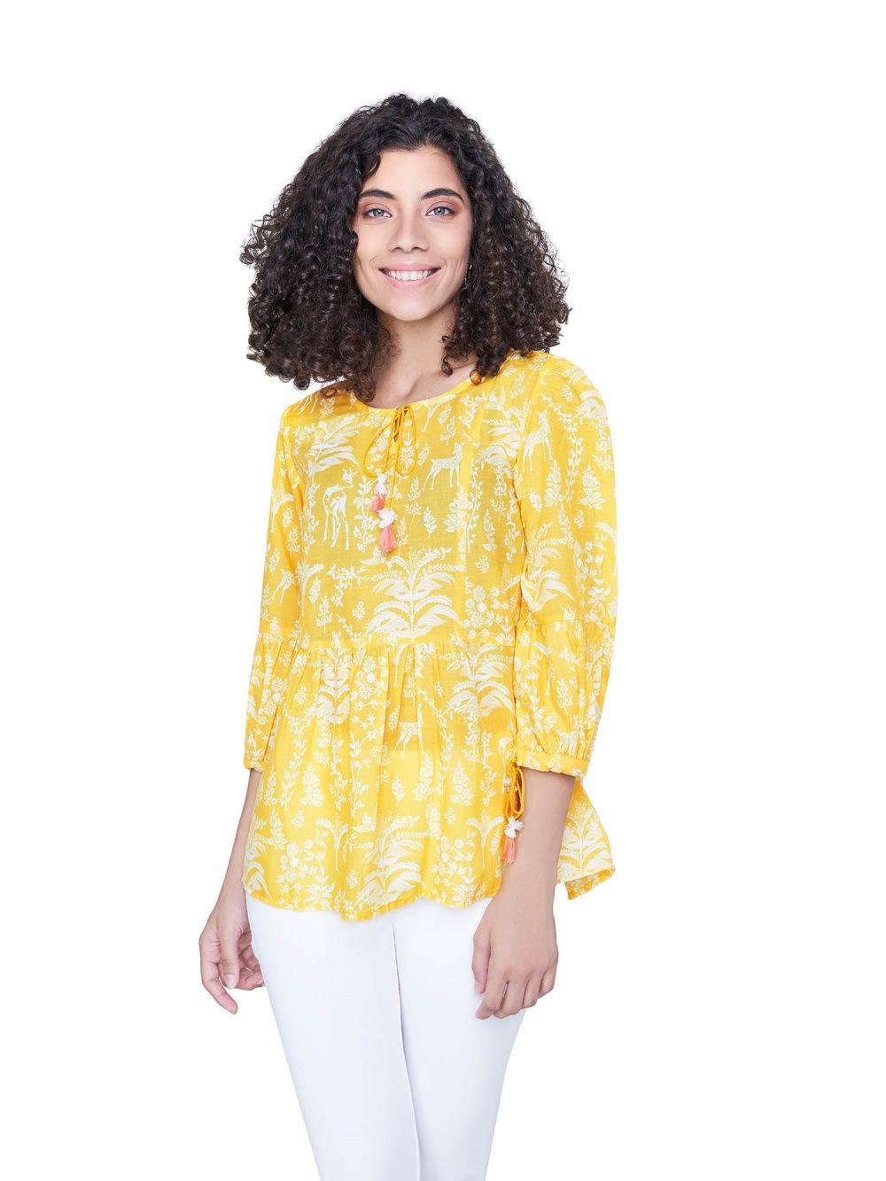 398ad699554 Global Desi Shirts Tops and Crop Tops : Buy Global Desi Yellow ...