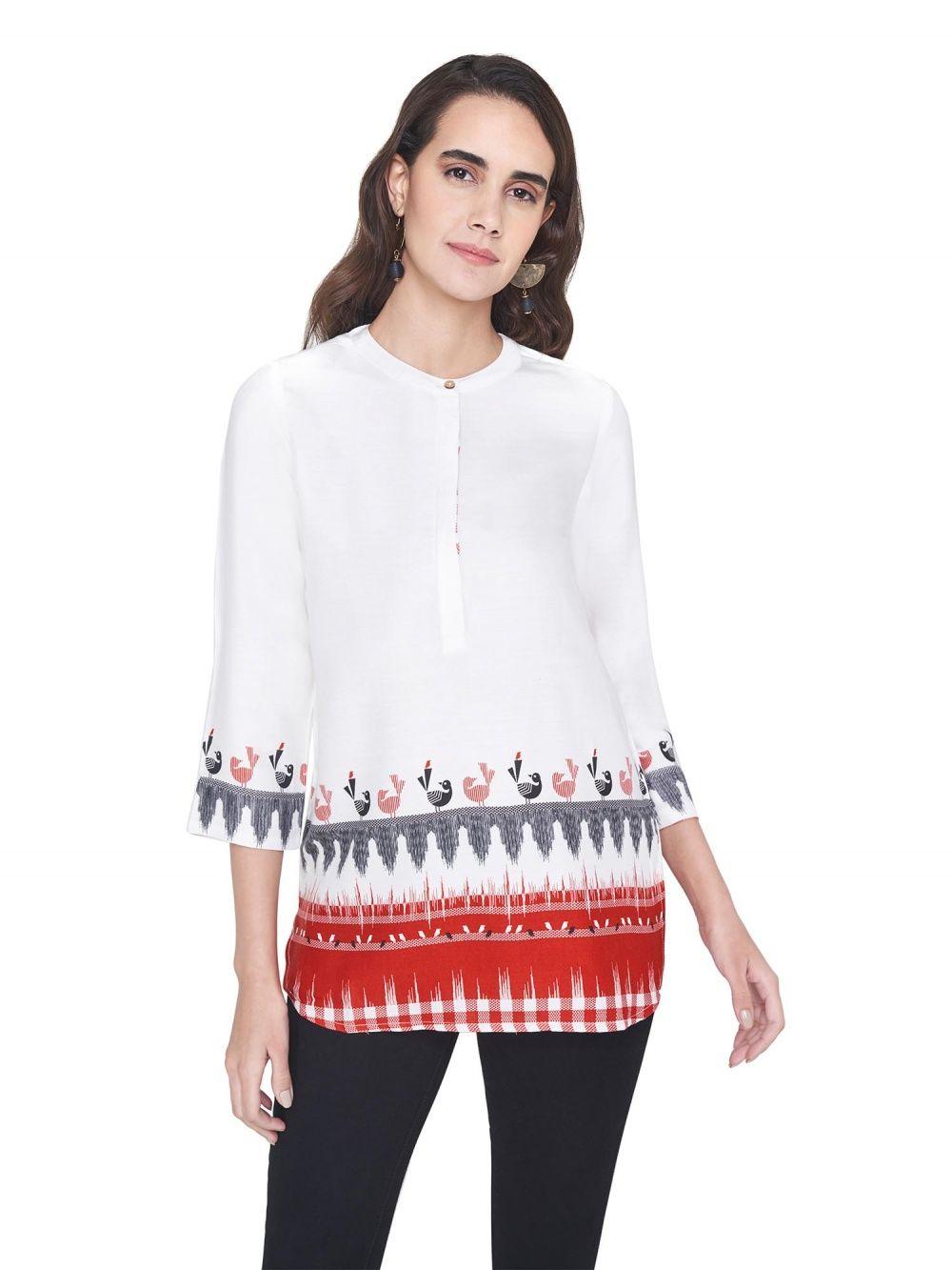 3358618c45bb6 Global Desi Shirts Tops and Crop Tops : Buy Global Desi White Bird ...