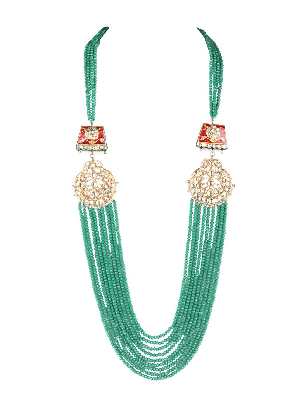 TAD Accessories Layered Green Crystal Necklace