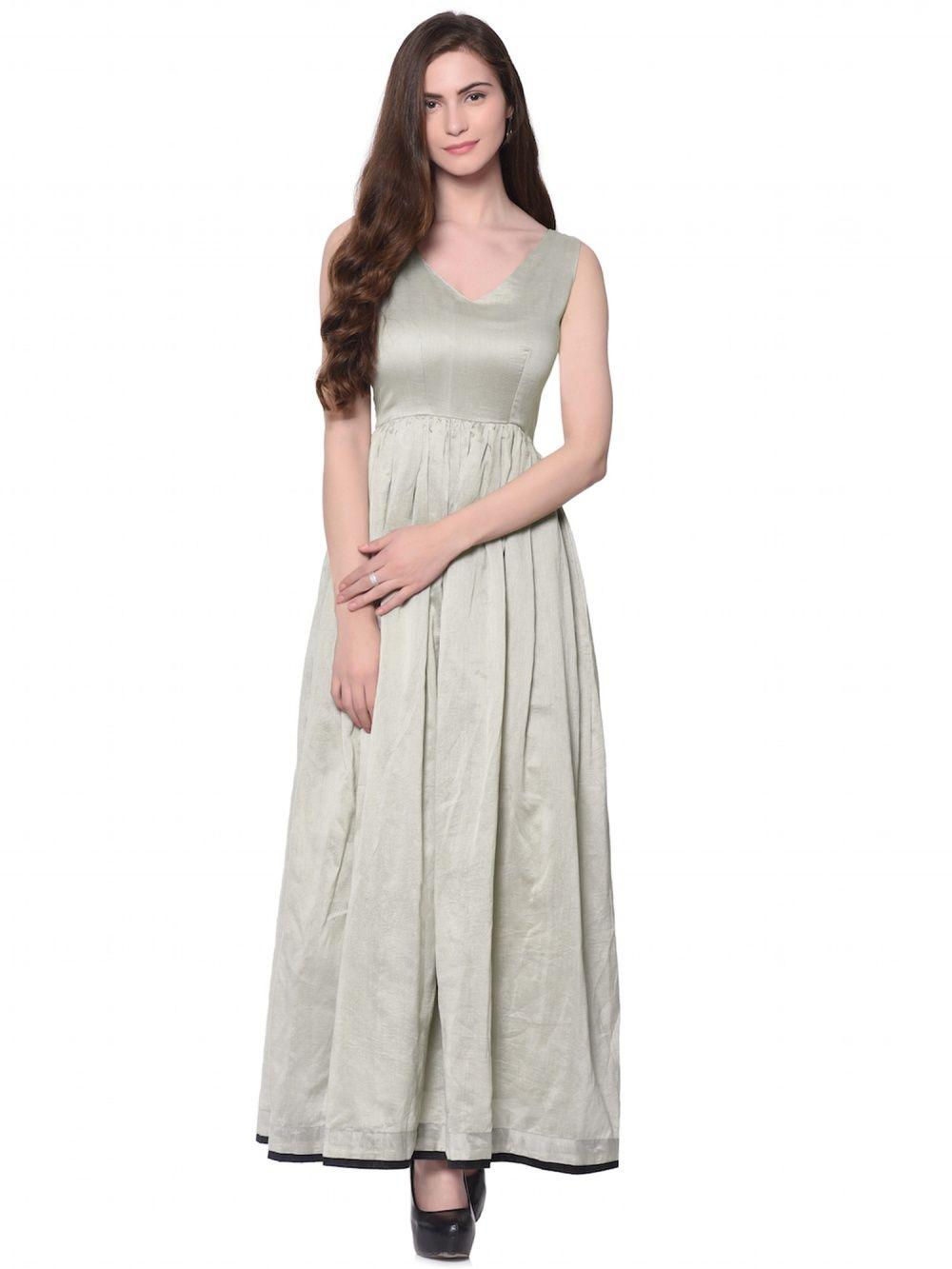 6a9ad9fd2d trueBrowns Dresses   Buy trueBrowns Grey Cotton Silk Dress Online ...