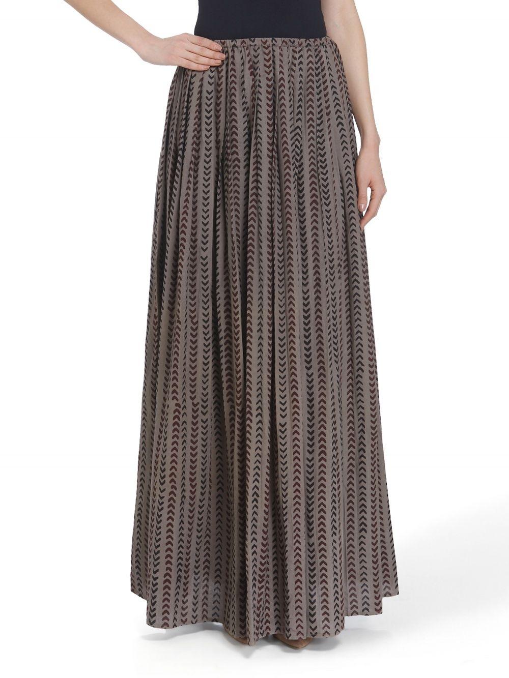 3c3f0e8076 Urvashi Kaur Skirt : Buy Urvashi Kaur Block Printed Pleated Khadi ...