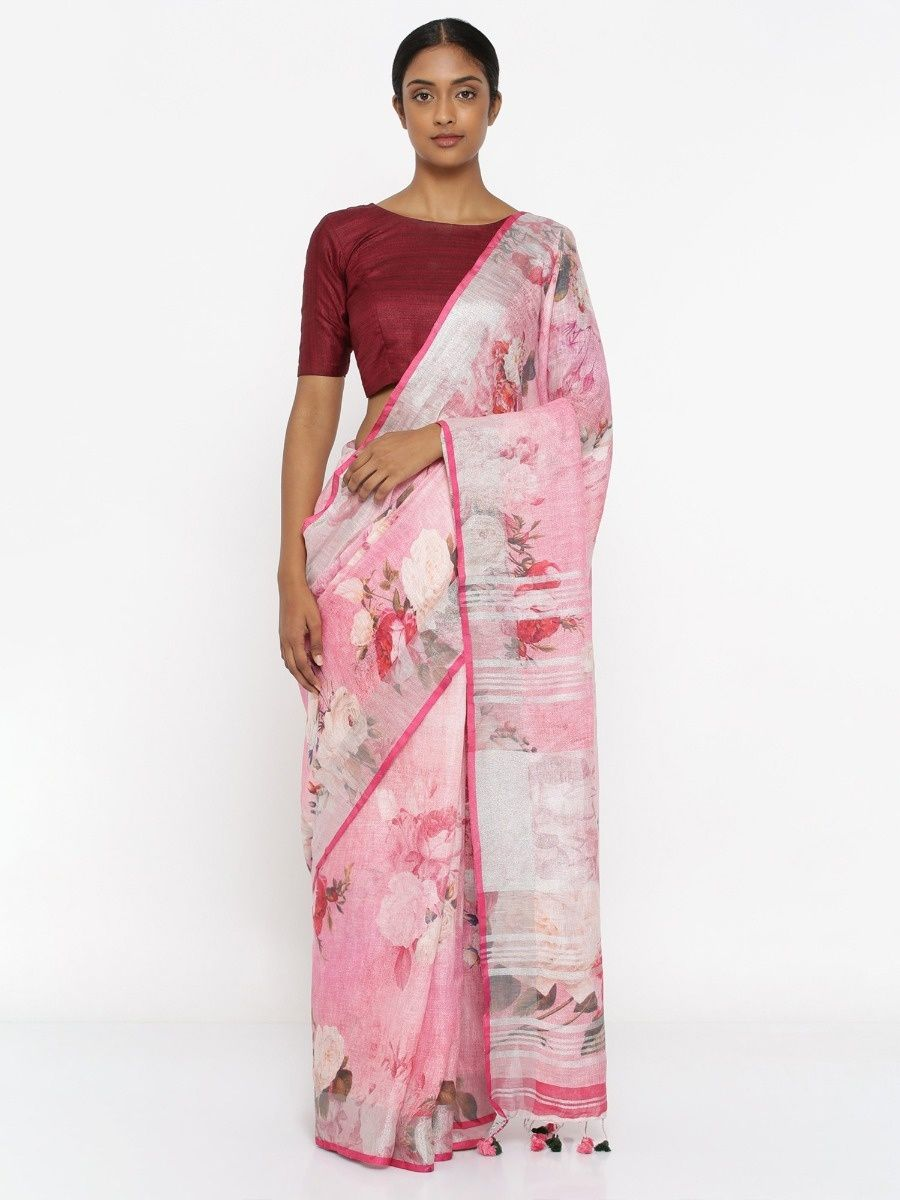 efcd06bed4 Via East Blush Pink Pure Linen Saree With Floral Print And Silver Zari  Border