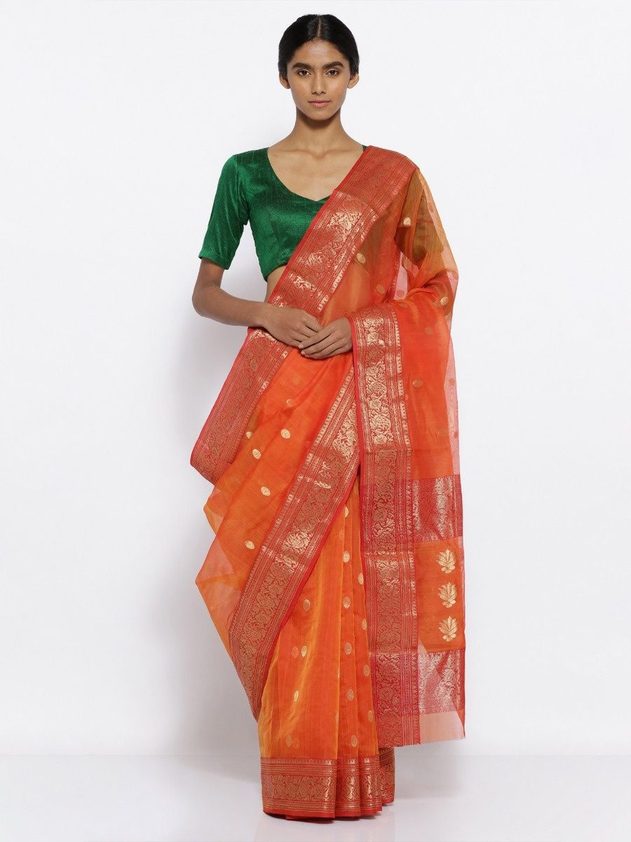 9e1be44d5876 Via East Orange Handloom Pure Silk Chanderi Saree With Zari Motifs And Rich  Border