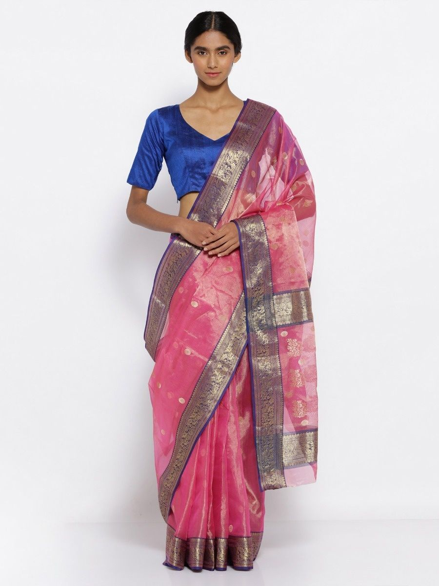 dae9244652 Via East Magenta Handloom Pure Tissue Chanderi Silk Saree With Gold Motifs