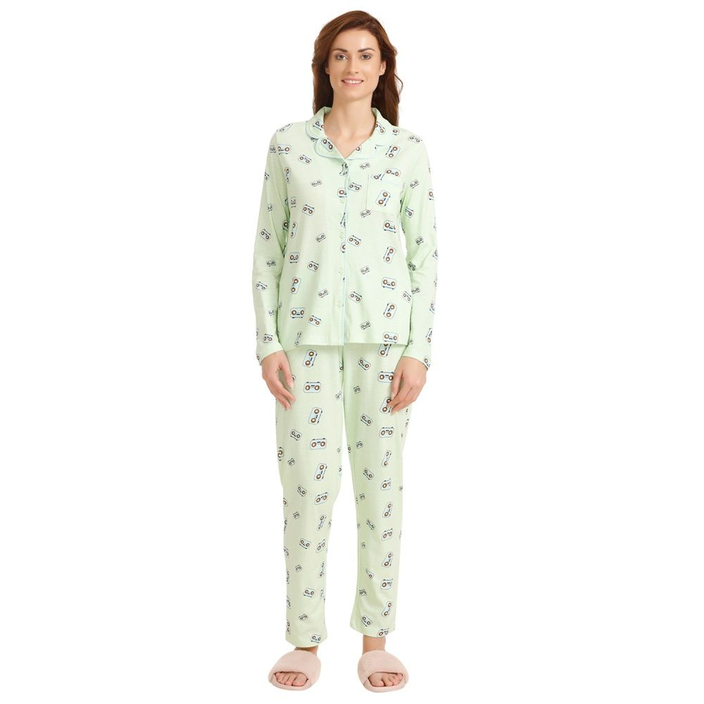 d5888cd0fb Zivame Lingerie : Zivame Retro Gadget Top N Pyjama Set - Green N ...