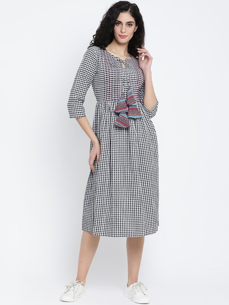 c10fff64c5 Fabnest White Checked Top Stitched Cotton Women Dress With Pintucks And  Tassles