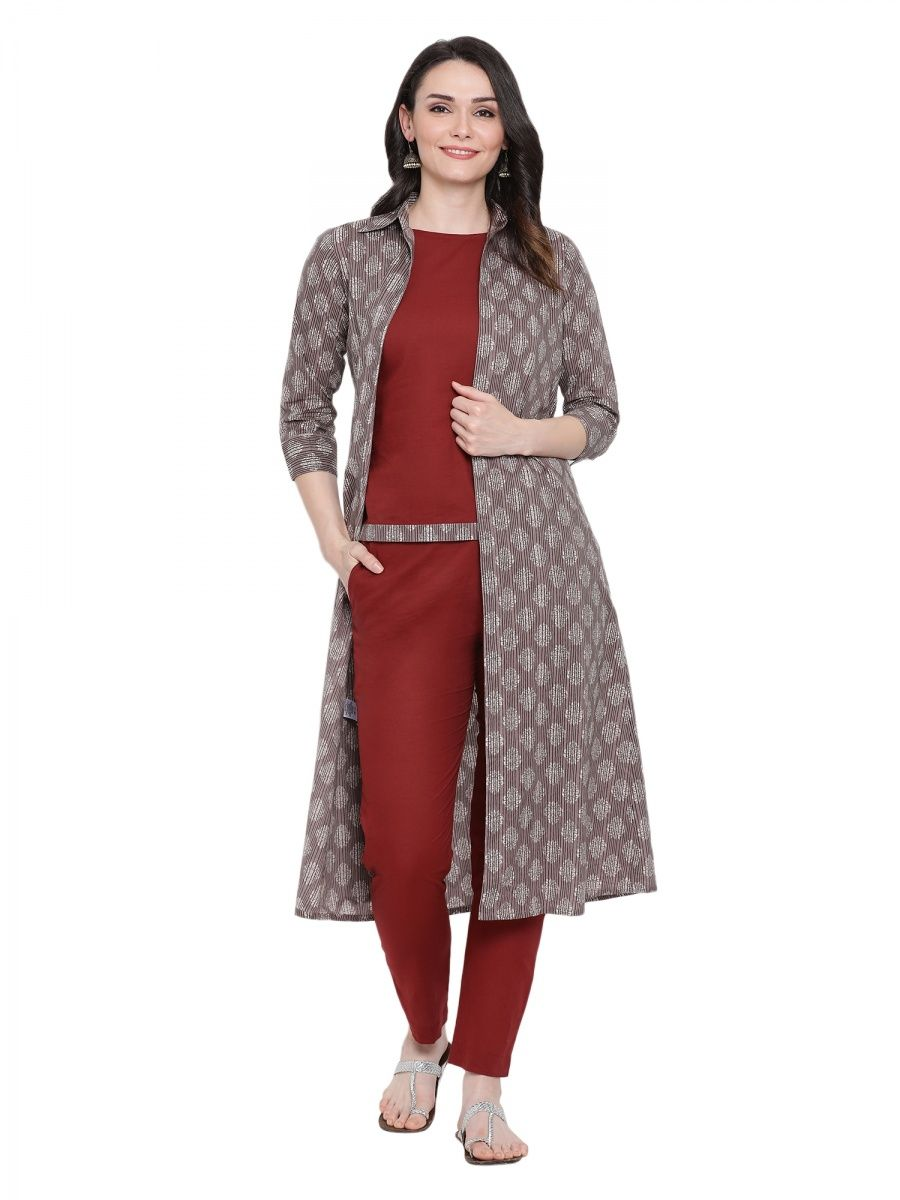 4590525d95 Fabnest Maroon Sleeveless Cotton Top And Straight Pants And A Grey Printed  Long Jacket