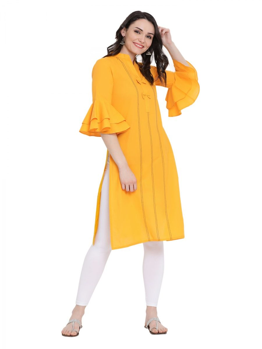 2ca90ae1f0 Fabnest Cotton Solid Yellow Kurta With Flounce Sleeve And Black Tagaai Work