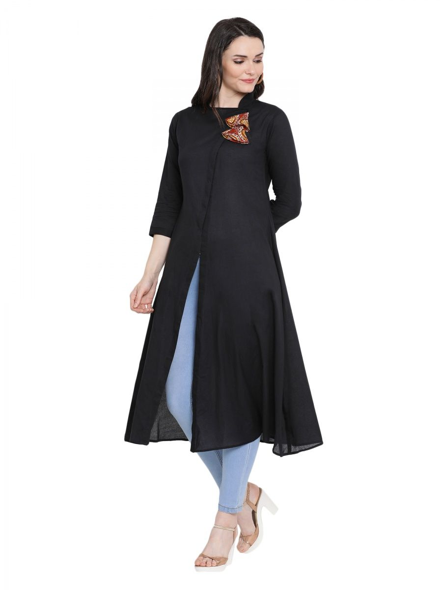 c4969d55b8 Fabnest Black Cotton Assymetrical Pattern Kurta With Printed Dual Tassels