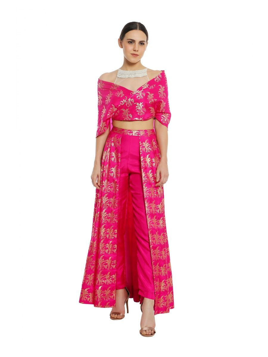 3ee7995c86 Masaba Fuchsia Wrap With Sheer Net Embroidered Blouse & Trouser Lehenga Set