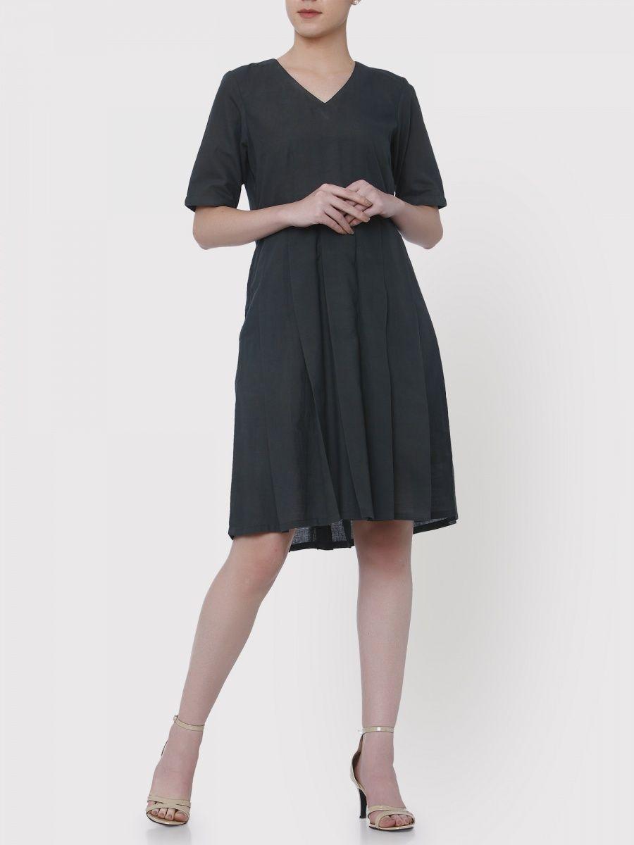 dad1392b6e8 Medhya Black Khadi Dress