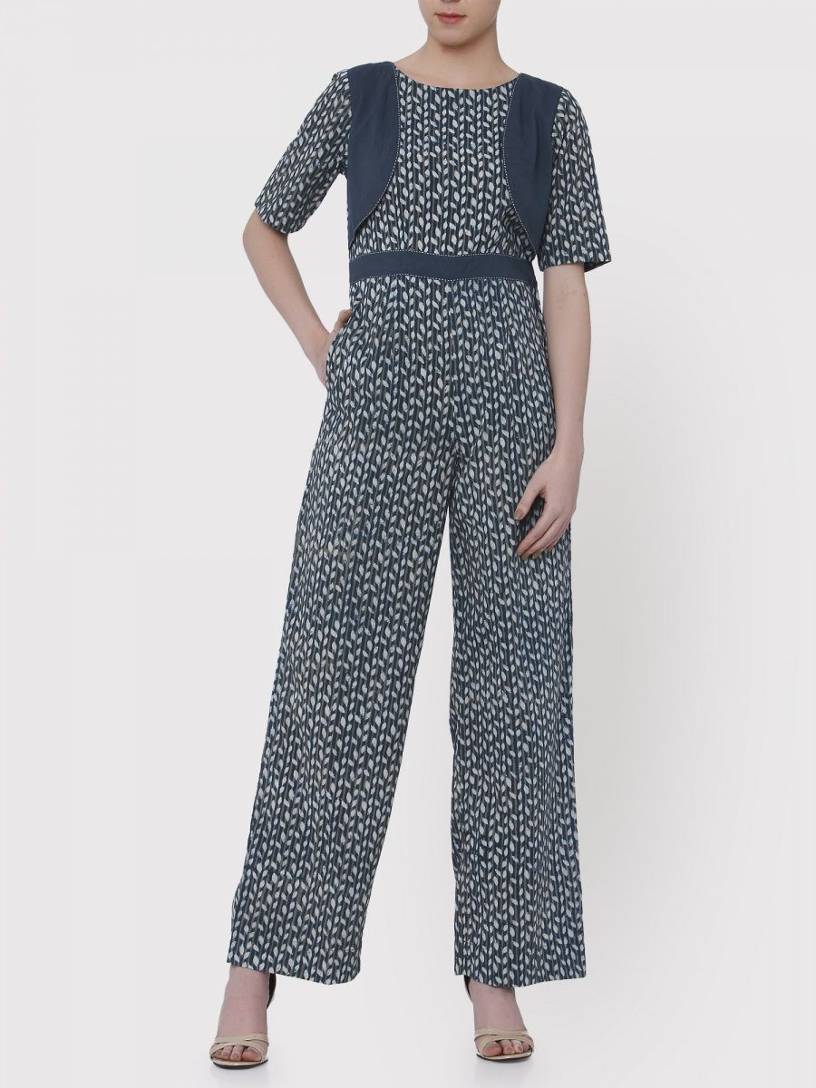 6644aed860e Medhya Striped Leaves Blue Jumpsuit