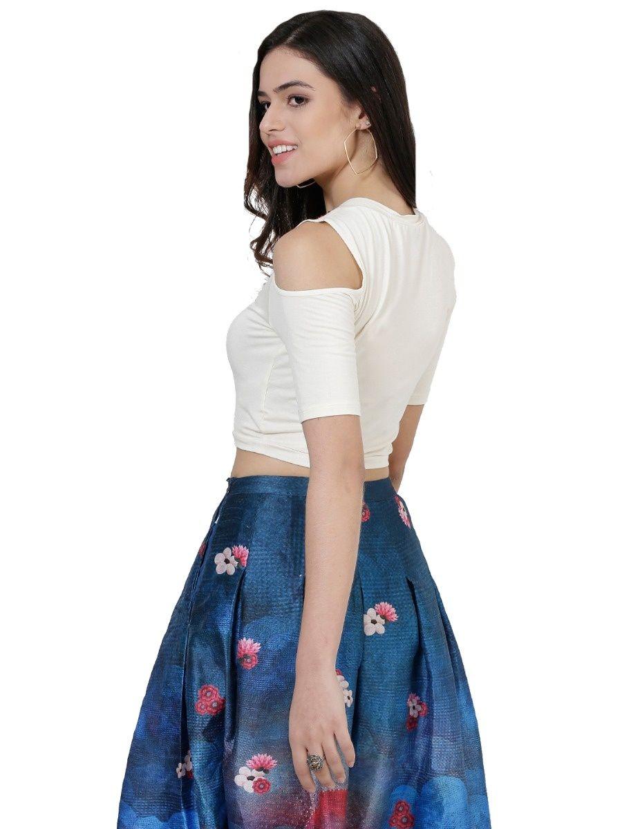 f562bed5a78a0 Label Ritu Kumar Shirts Tops and Crop Tops   Buy Label Ritu Kumar Round  Neck Cold Shoulder Crop Top - White Online