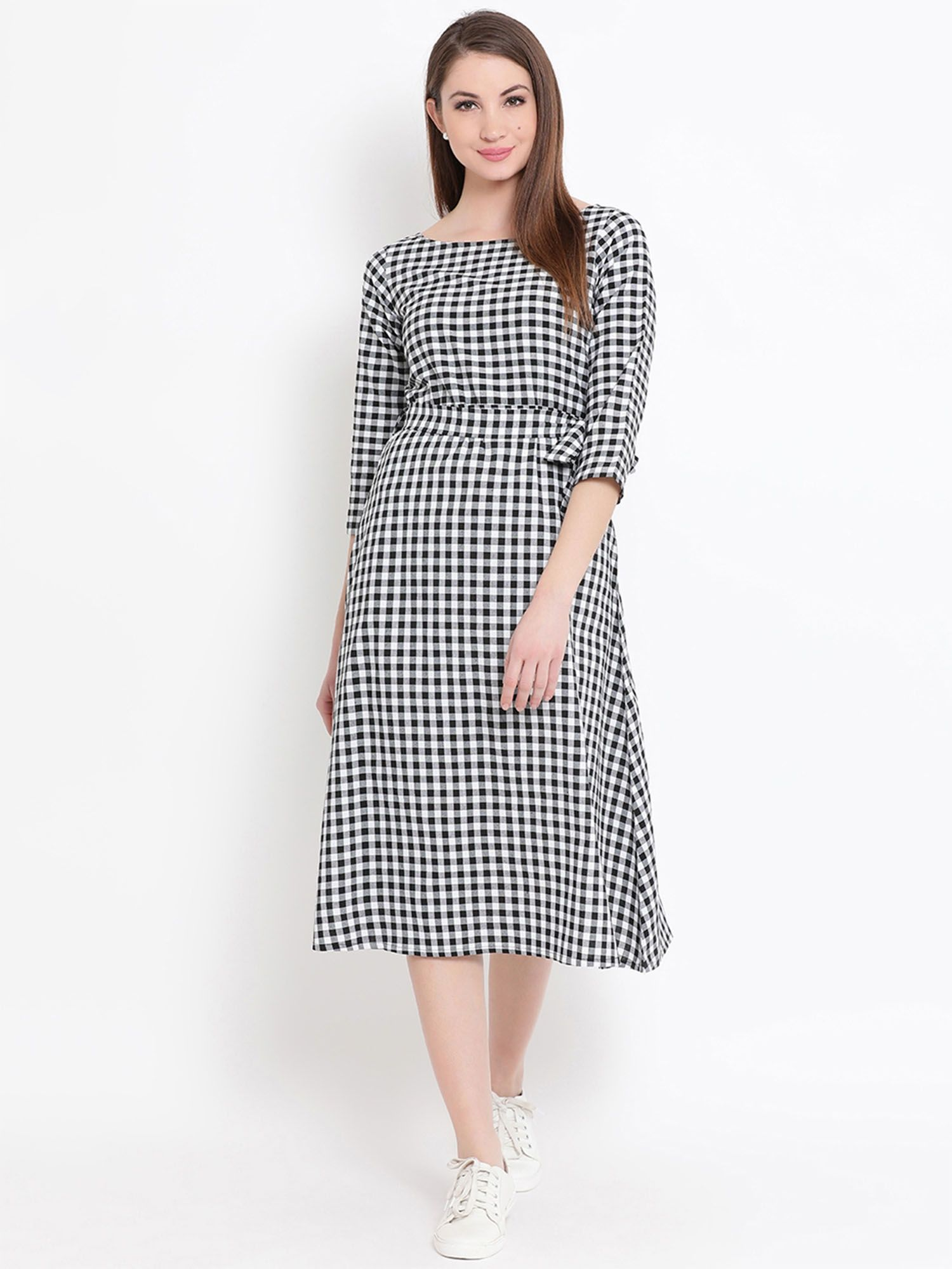 ac6957c878f Ladies Black And White Check Dress - Data Dynamic AG