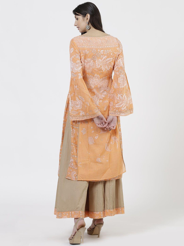 c7302e80870d Ritu Kumar Orange Boat Neck Long Full Sleeve Printed Kurta With Sharara