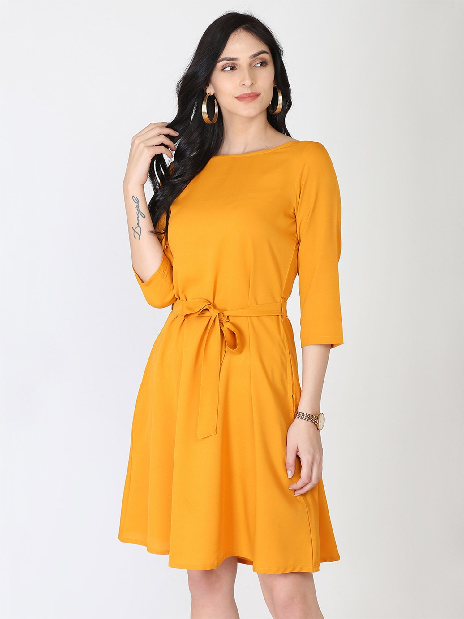 Abhishti Belt & Bow Polycrepe Mustard Shift Dress