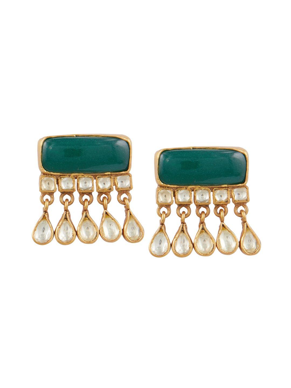 e49a6d0c4 Ahilya Jewels Earring   Buy Ahilya Jewels Emerald Green Jadau Kundan ...