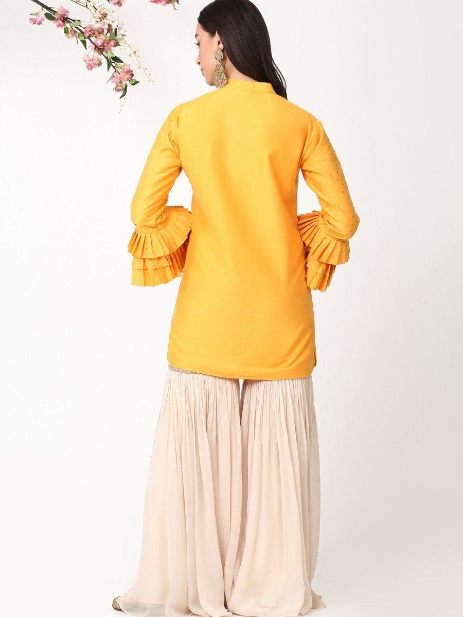 Alaya by Stage3 Mustard Pleated Sleeves Kurta