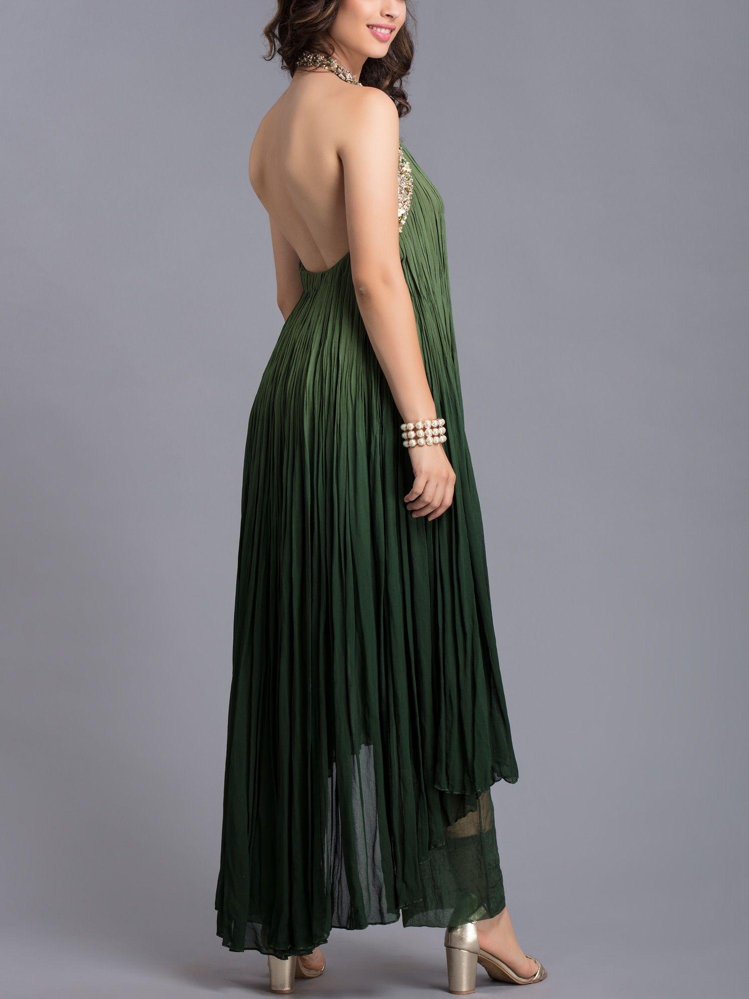 26c9f414727 Avdi Kurtis Kurtas and Tunics : Buy Avdi Olive Green Halter Neck ...