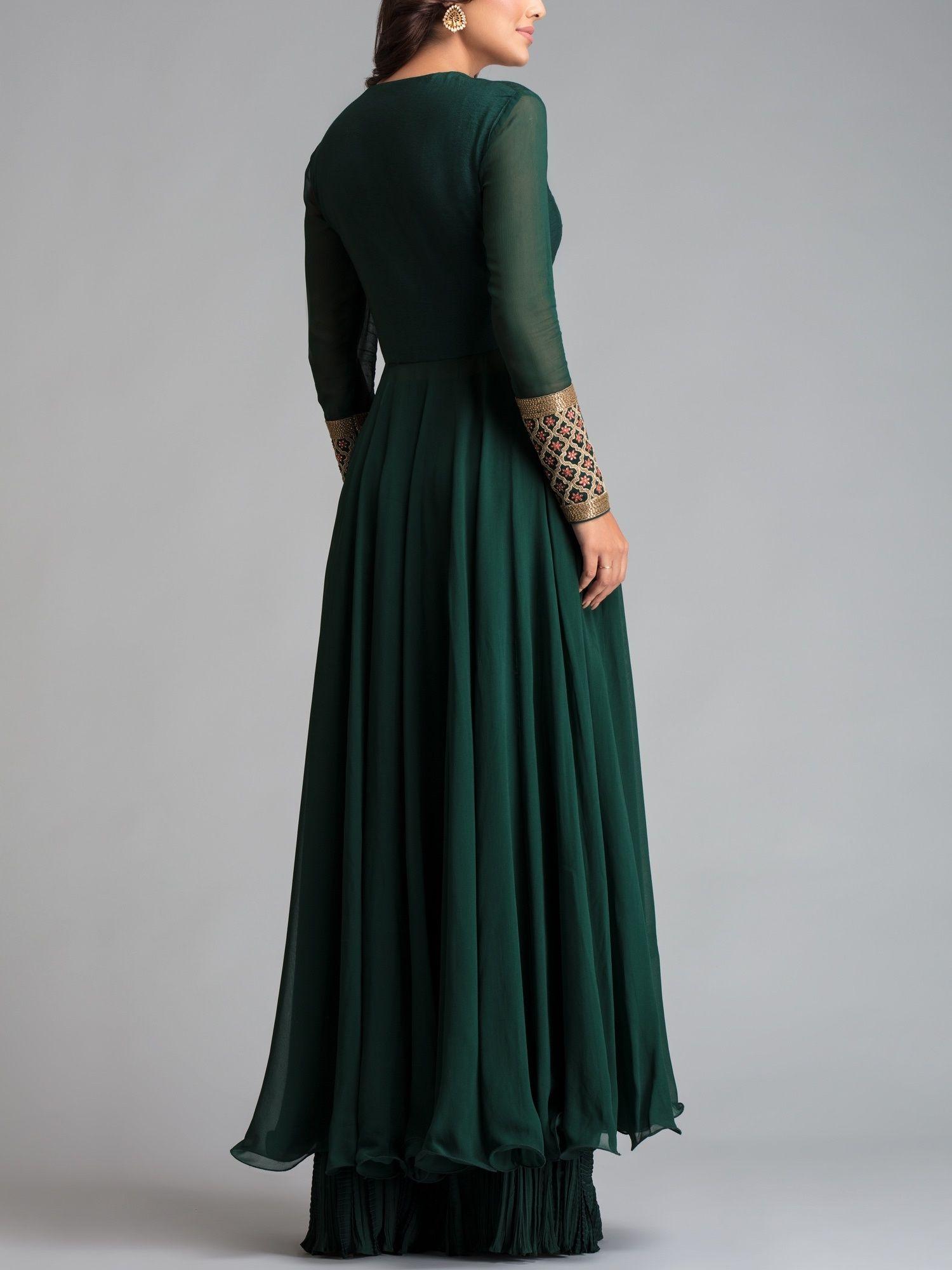 a54eb96c31e Avdi Kurtis Kurtas and Tunics : Buy Avdi Emerald Green Embroidered ...