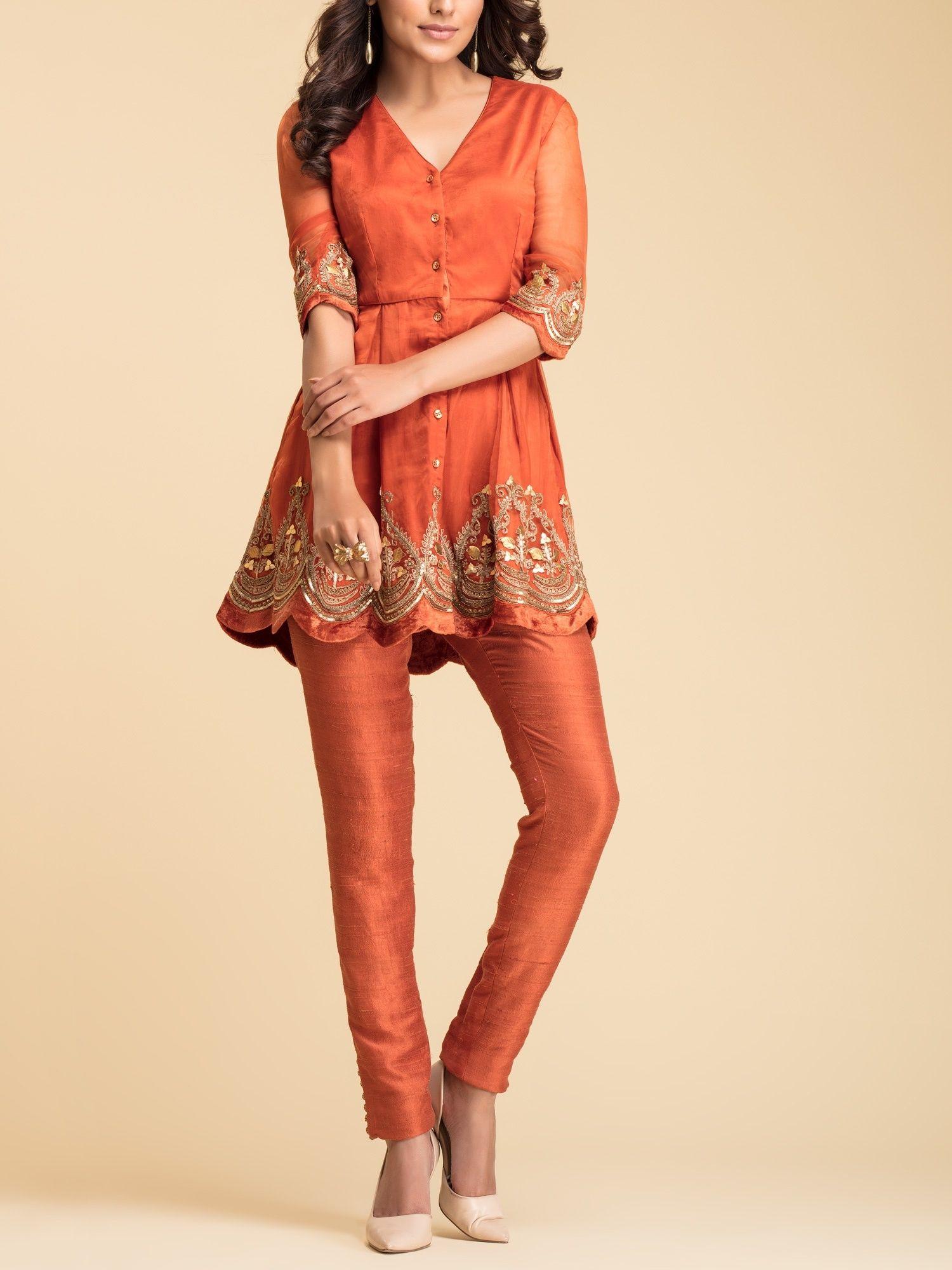 80a6cf74ad3 Avdi Kurtis Kurtas and Tunics : Buy Avdi Burnt Orange Embroidered ...
