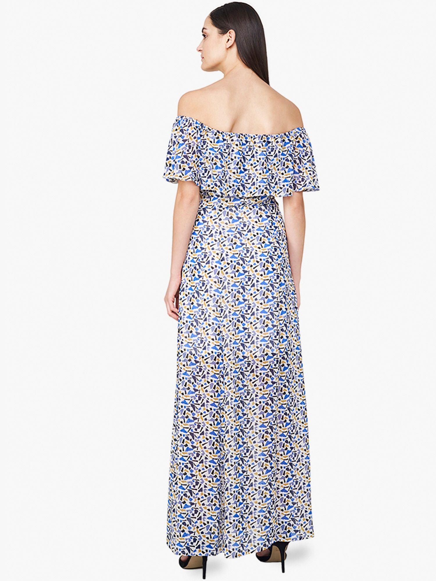 8f55780aa5f2 AND Dresses   Buy AND Blue Mosaic Print Off Shoulder Maxi Dress ...