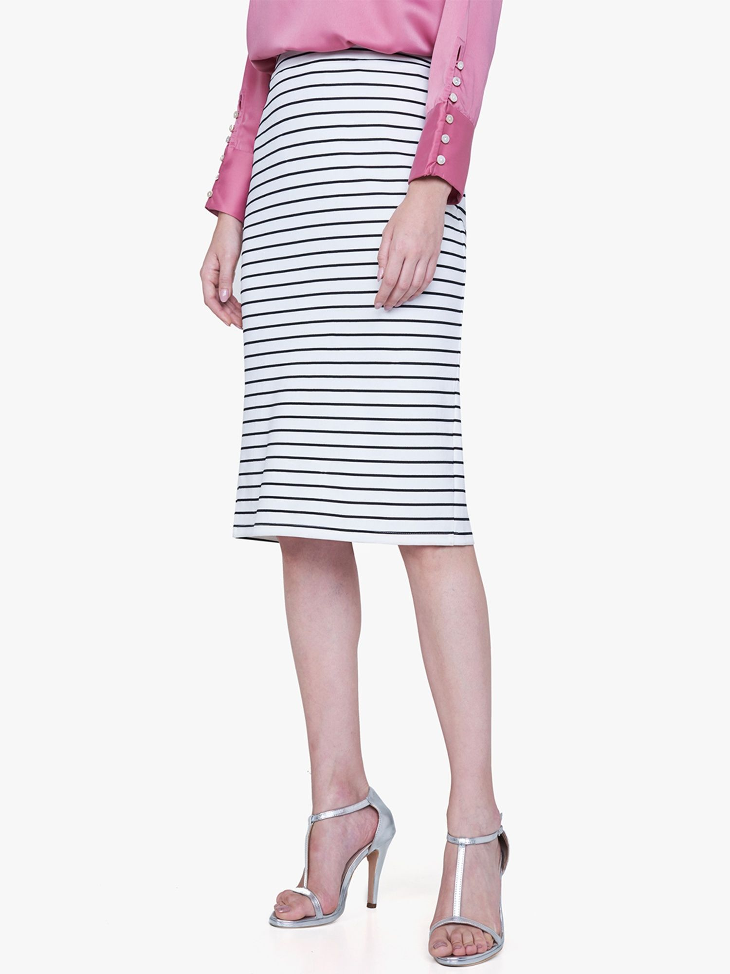 cef1ae7f4 AND Skirts : Buy AND Black & White Nautical Striped Pencil Skirt ...