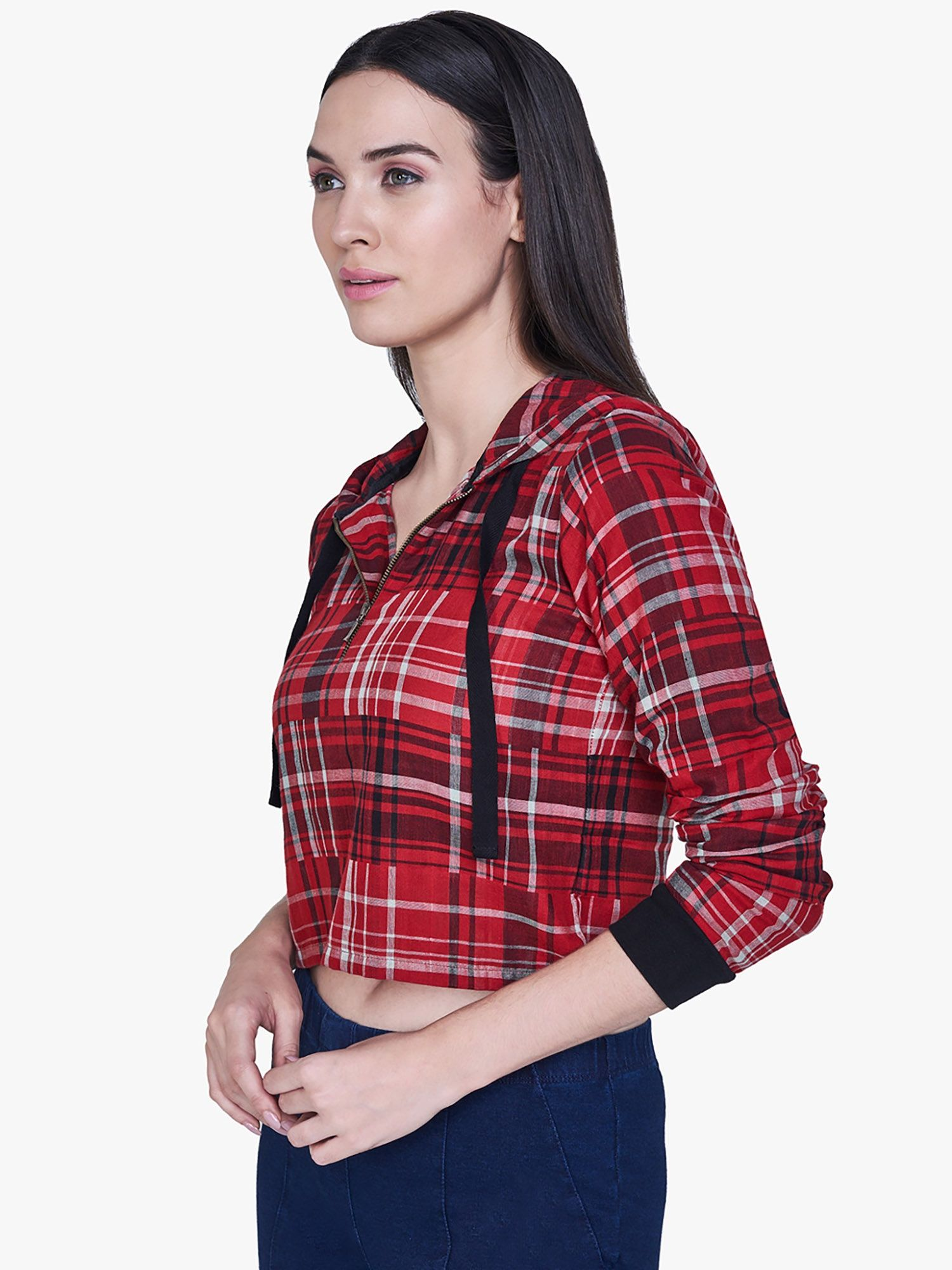 AND Red Plaid Cropped Hoodie