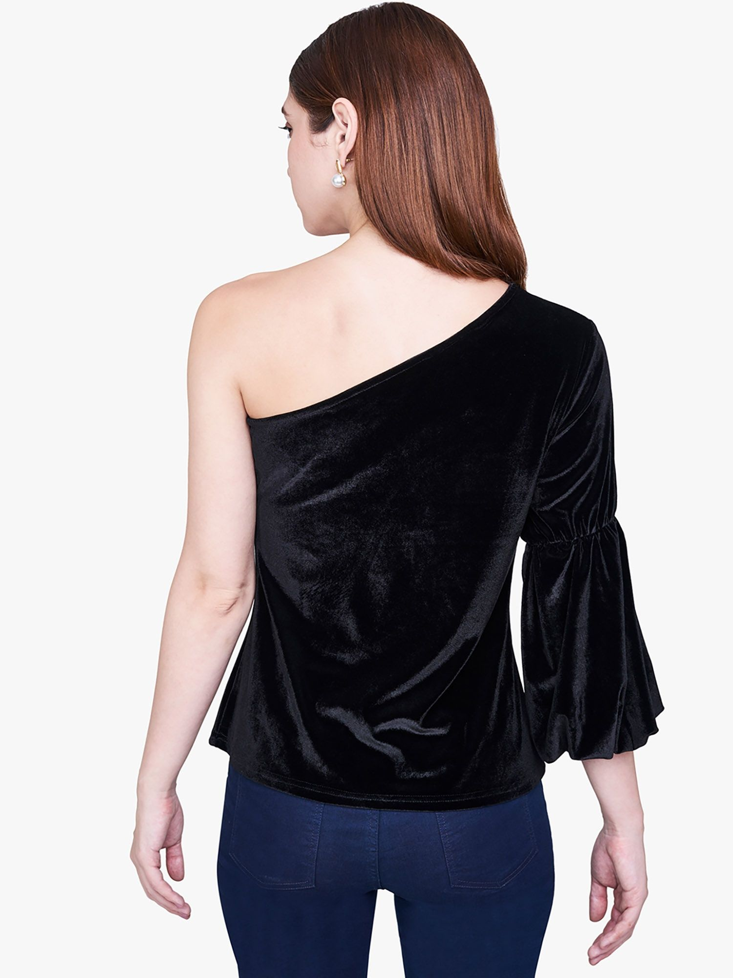 f894b64cc90c1 AND Shirts Tops and Crop Tops   Buy AND Black Velvet One-Shoulder ...