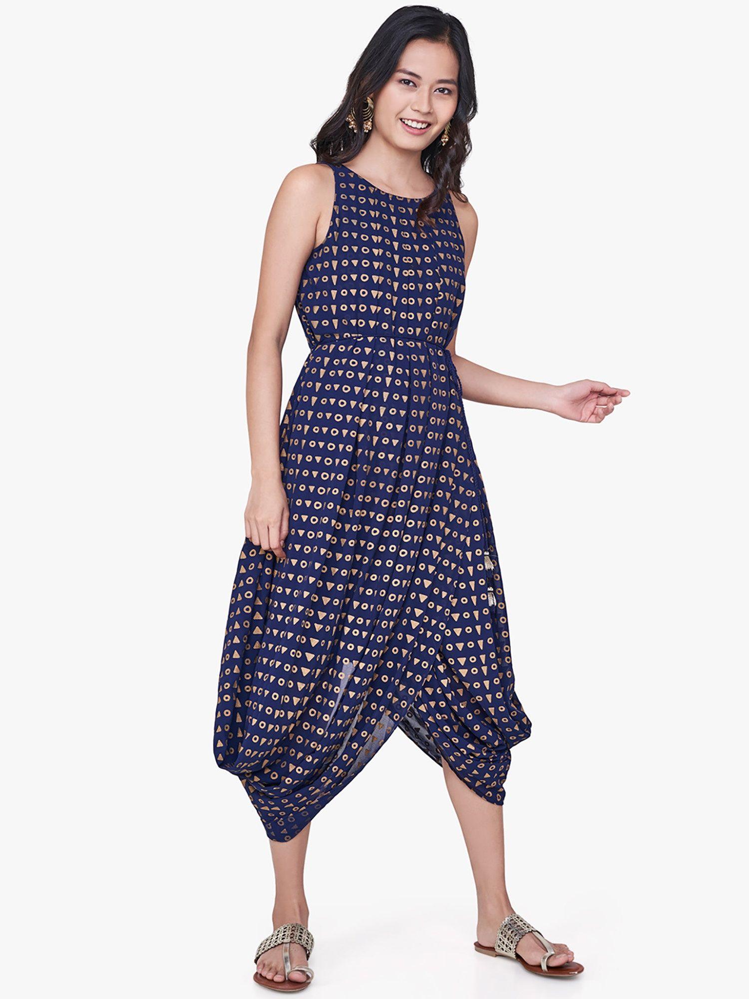 dcc59f47f03 Global Desi Dresses   Buy Global Desi Indigo Butti Print Dhoti Maxi ...