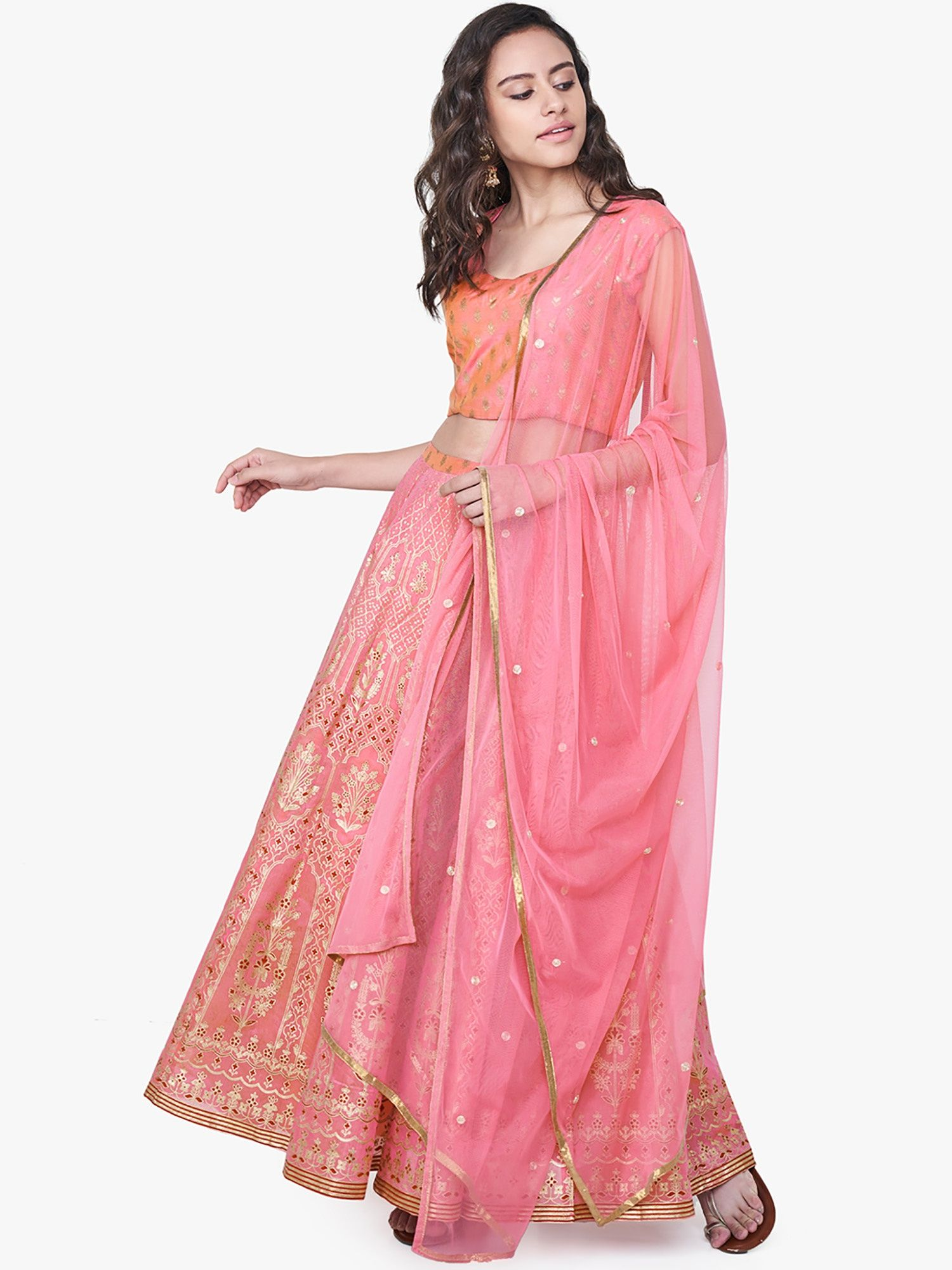 6ab305a67e85f Global Desi Kurtas : Buy Global Desi Pink Floral Print Lehenga Sets ...