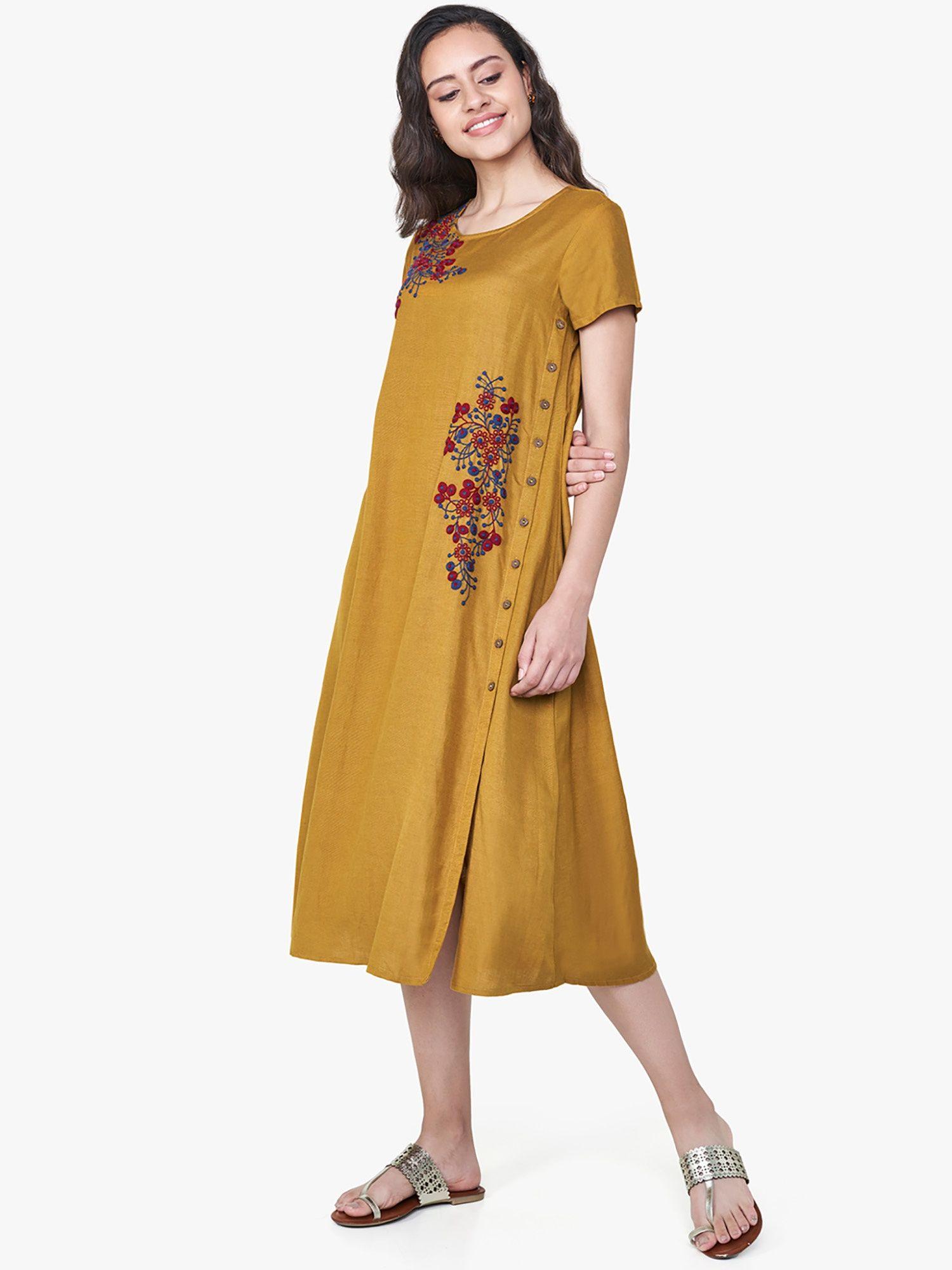 7f5c9dd77fe5 Global Desi Dresses   Buy Global Desi Mustard Floral Embroidered ...
