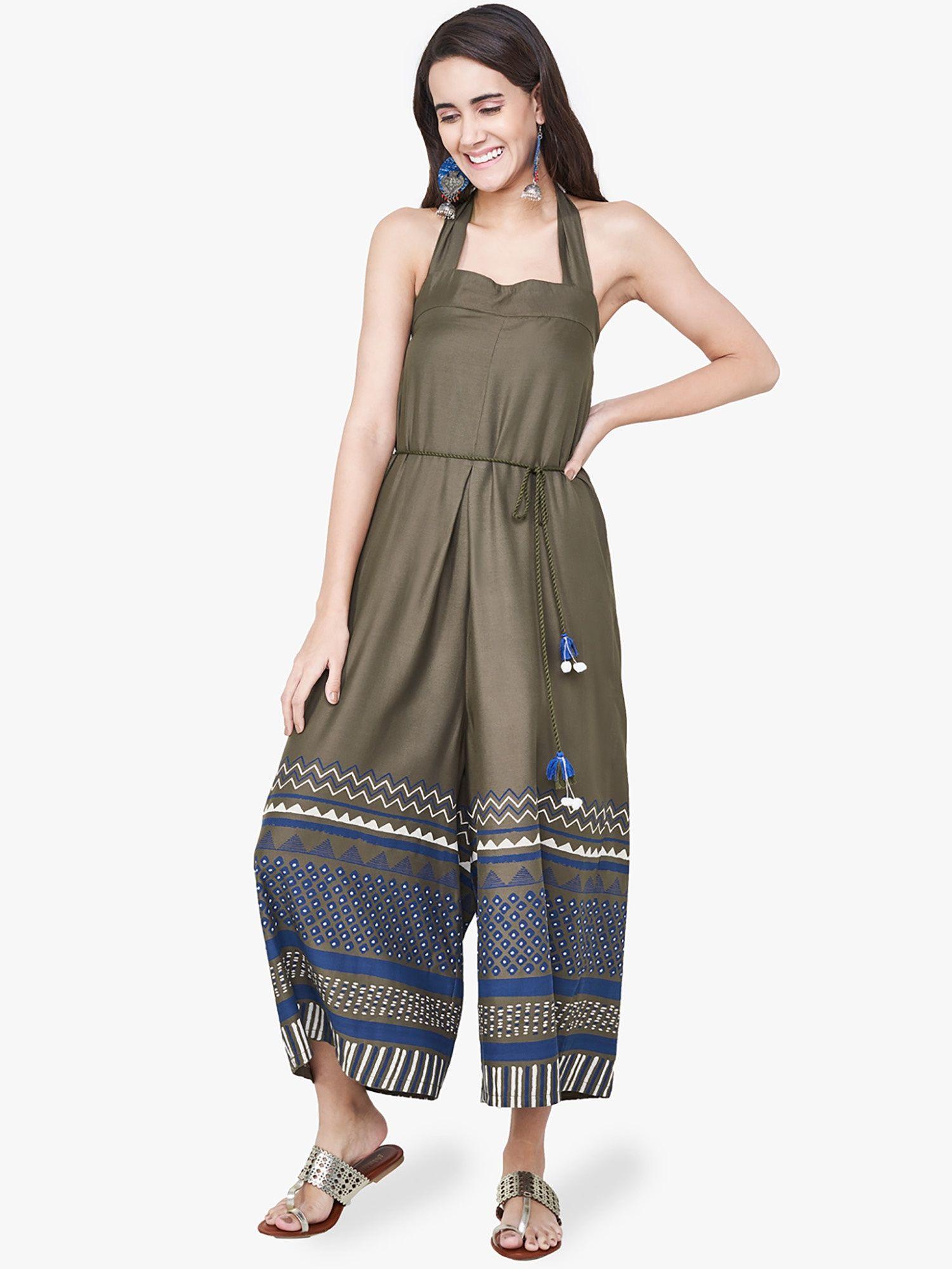 d3e358176a81 Global Desi Jumpsuits   Buy Global Desi Olive Chevron Print Jumpsuits Online