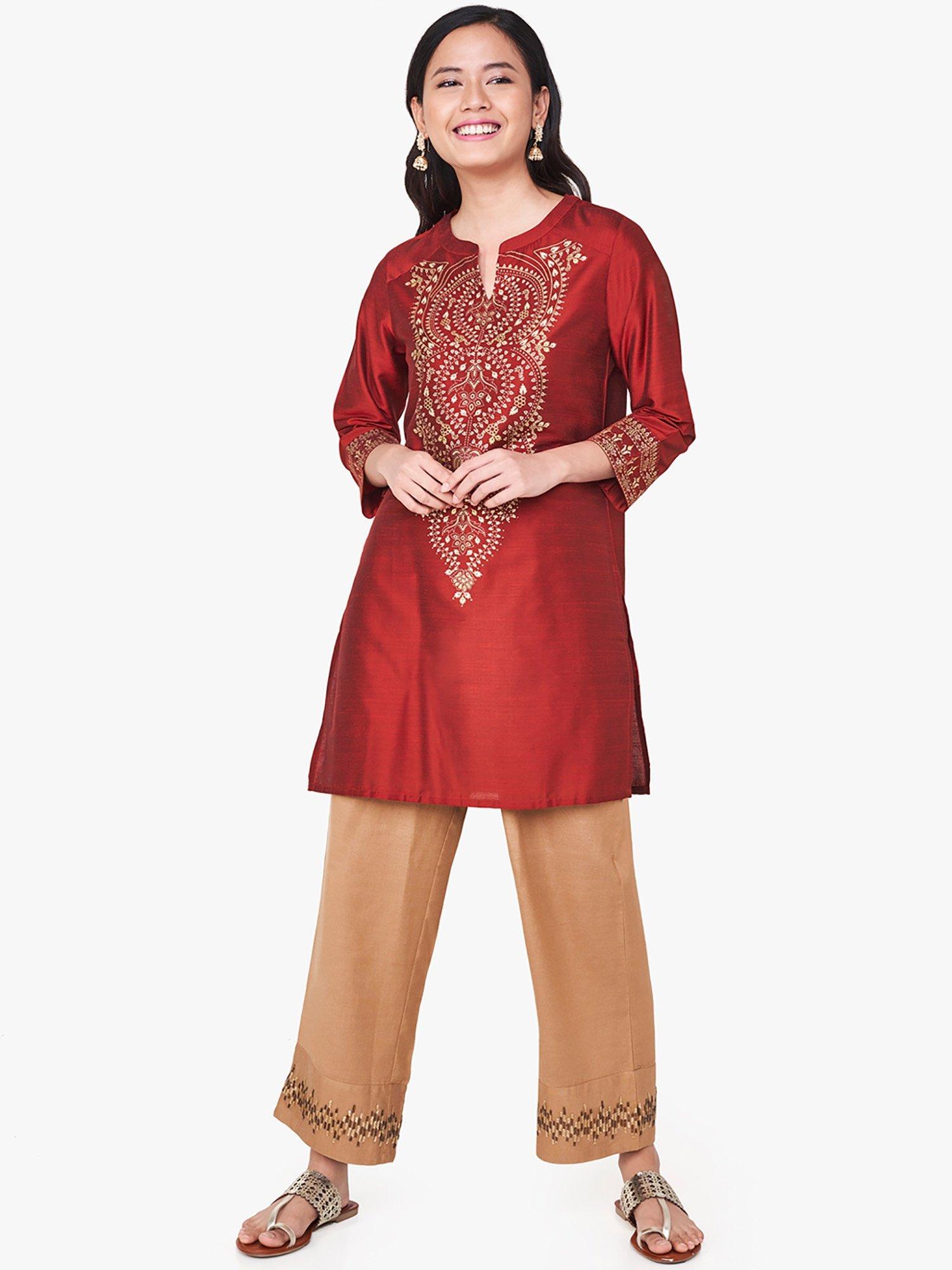 48f3da8a6ae Global Desi Tunics   Buy Global Desi Maroon Floral Print Tunic ...