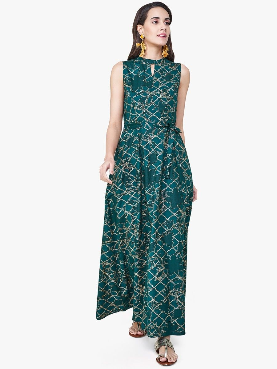 84523d1a968207 Global Desi Dresses : Buy Global Desi Emerald Green Diamond Print ...