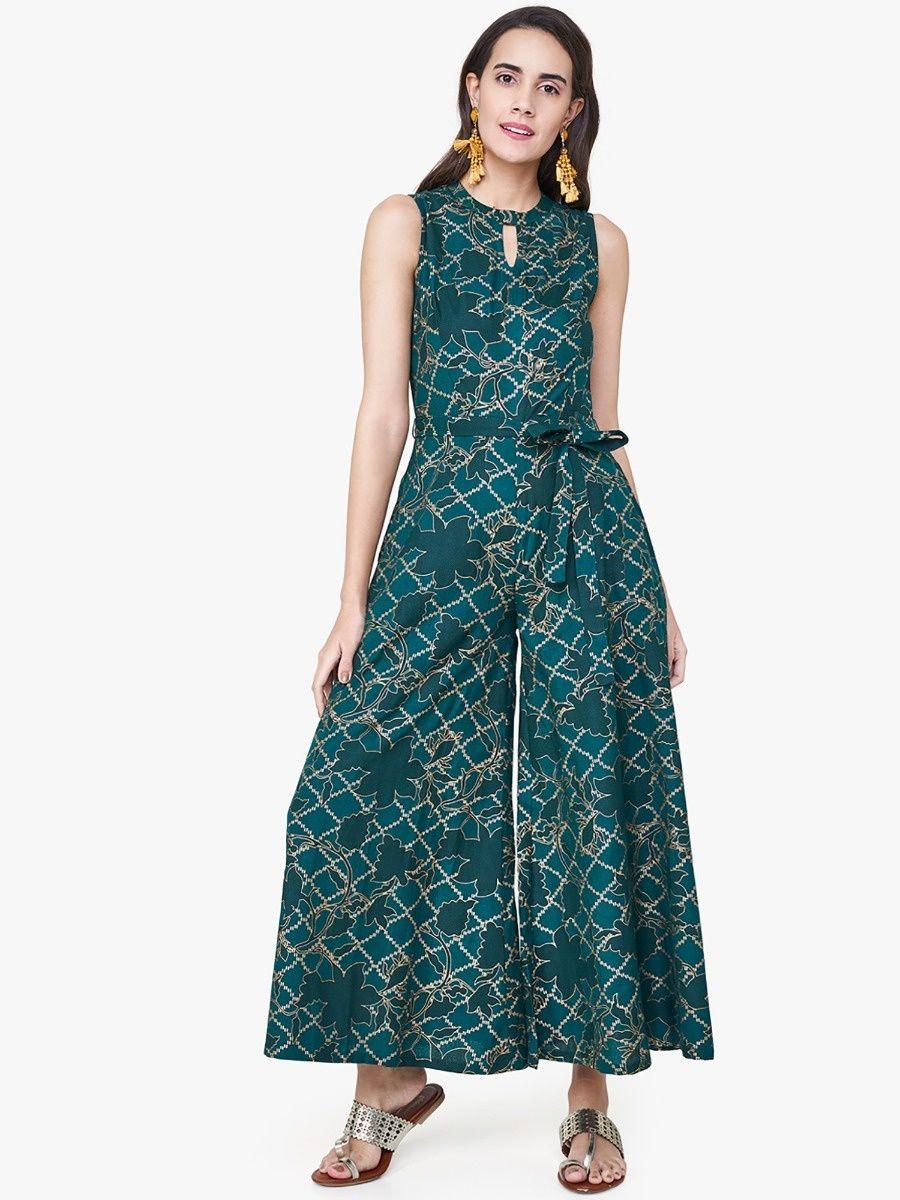 b82d39a94311 Global Desi Emerald Green Diamond Print Jumpsuits