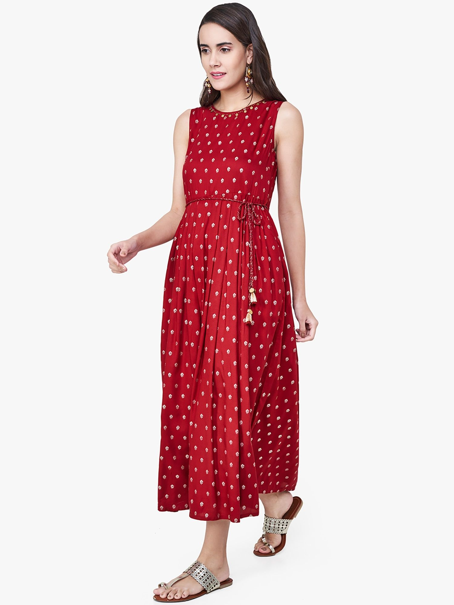 dfac1420c0f3 Global Desi Dresses   Buy Global Desi Maroon Floral Print Maxi Dress ...
