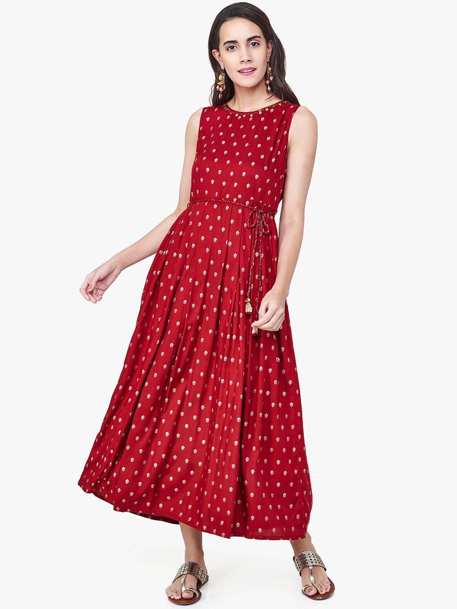 dfac1420c0f3 Global Desi Dresses   Buy Global Desi Maroon Floral Print Maxi Dress ...