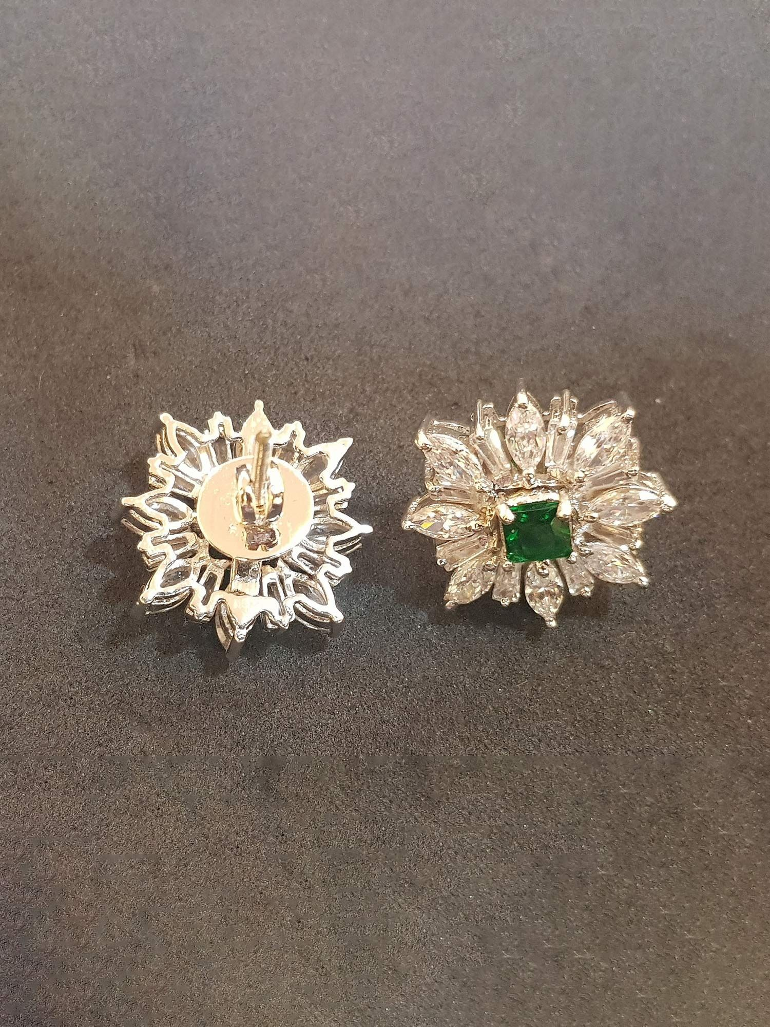 c36602a2d Bejeweled Earrings : Buy Rhodium Finish Flower Tops With Green Stone ...