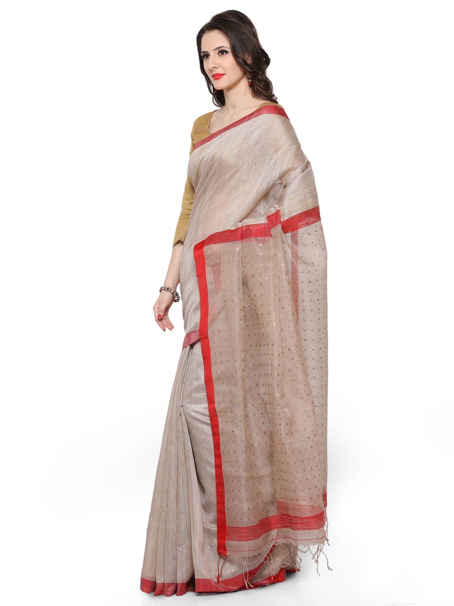 aba67c163c Desi Weavess Eri Silk Saree With Silk Organza Pallav And Sequence On The  Pallav