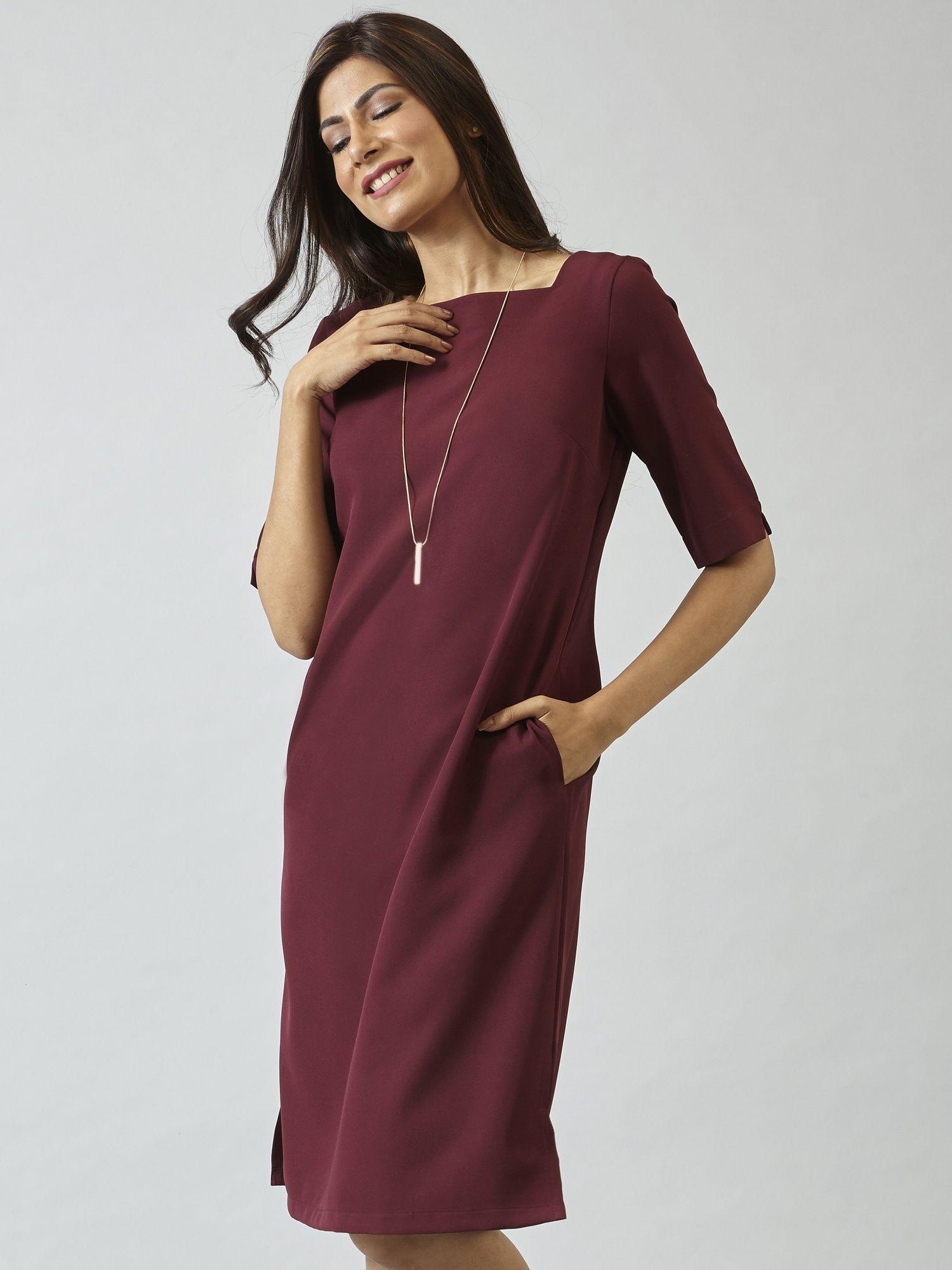 f44766e3c8 FableStreet Dresses   Buy FableStreet Elbow Length Sleeves Wide Neck Shift  Dress - Maroon Online