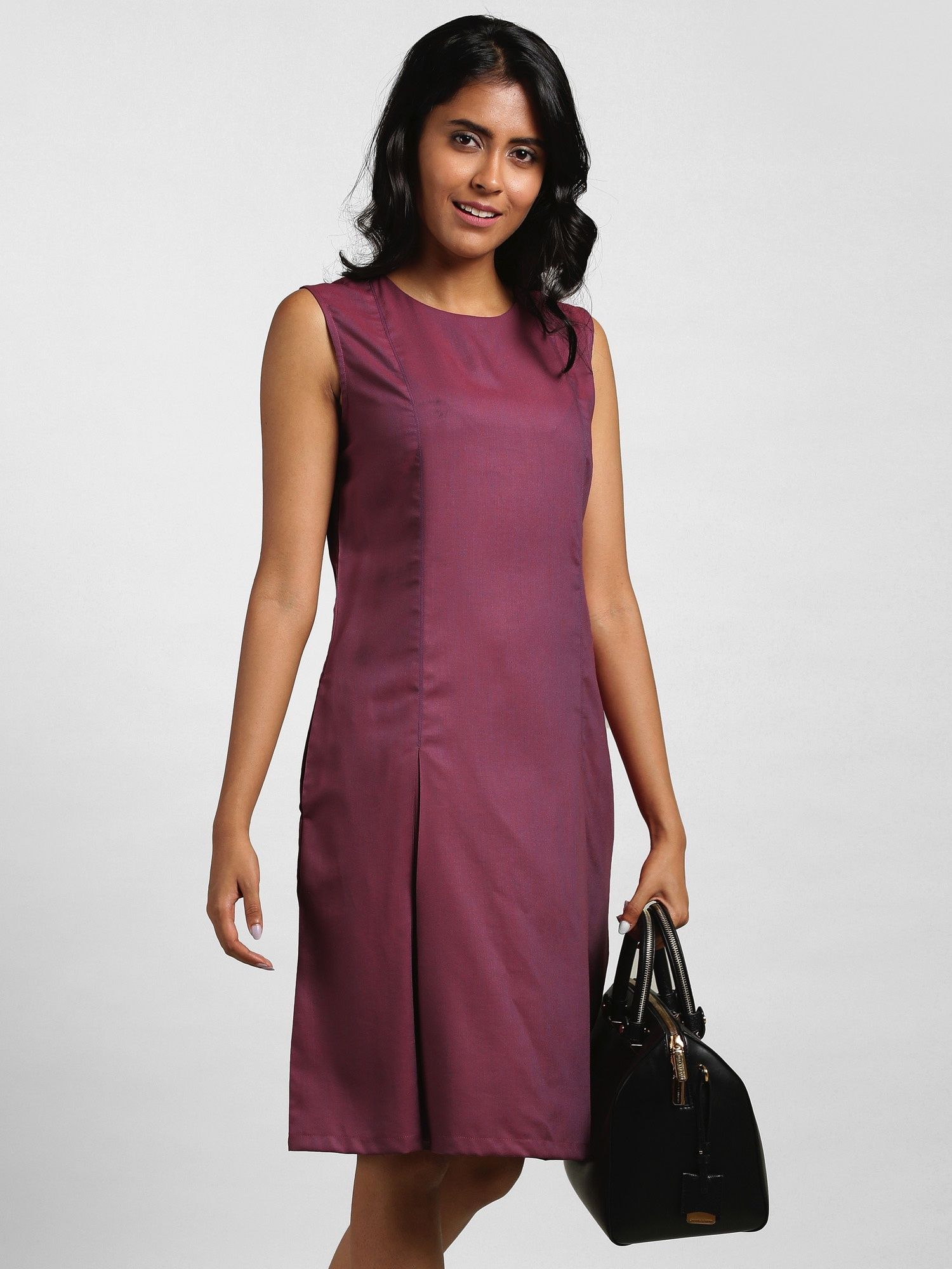 104393f32c FableStreet Dresses   Buy FableStreet Round Neck Wide Box Pleat Dress -  Purple Online