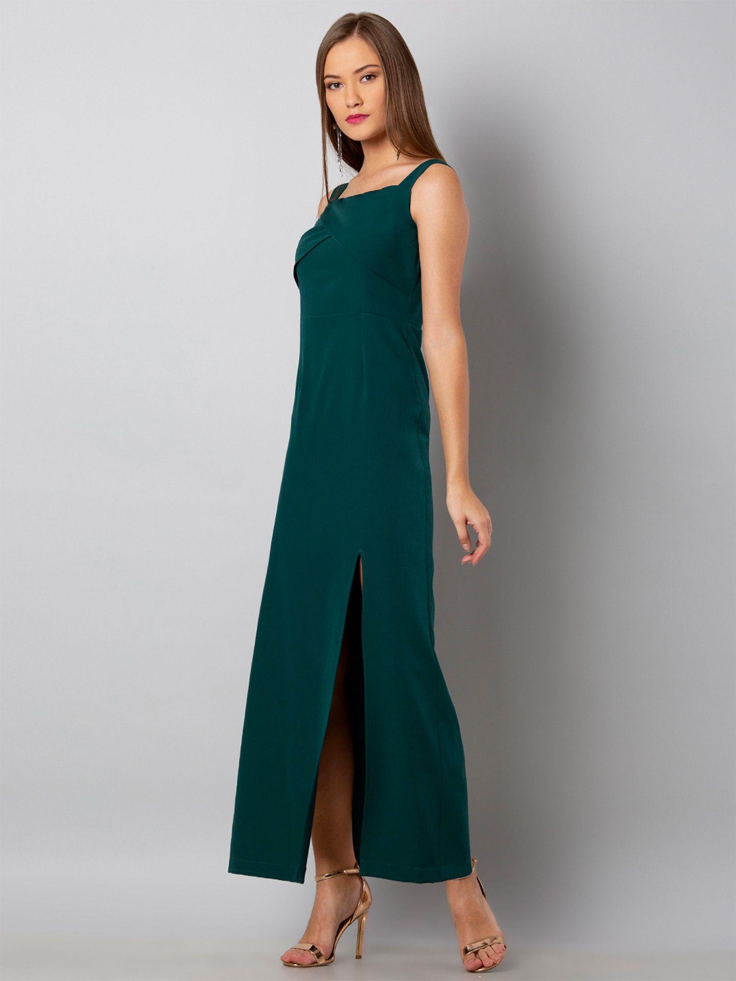 74e7a06f30d Faballey Dresses   Buy Faballey Green Overlap Yoke Maxi Dress Online ...