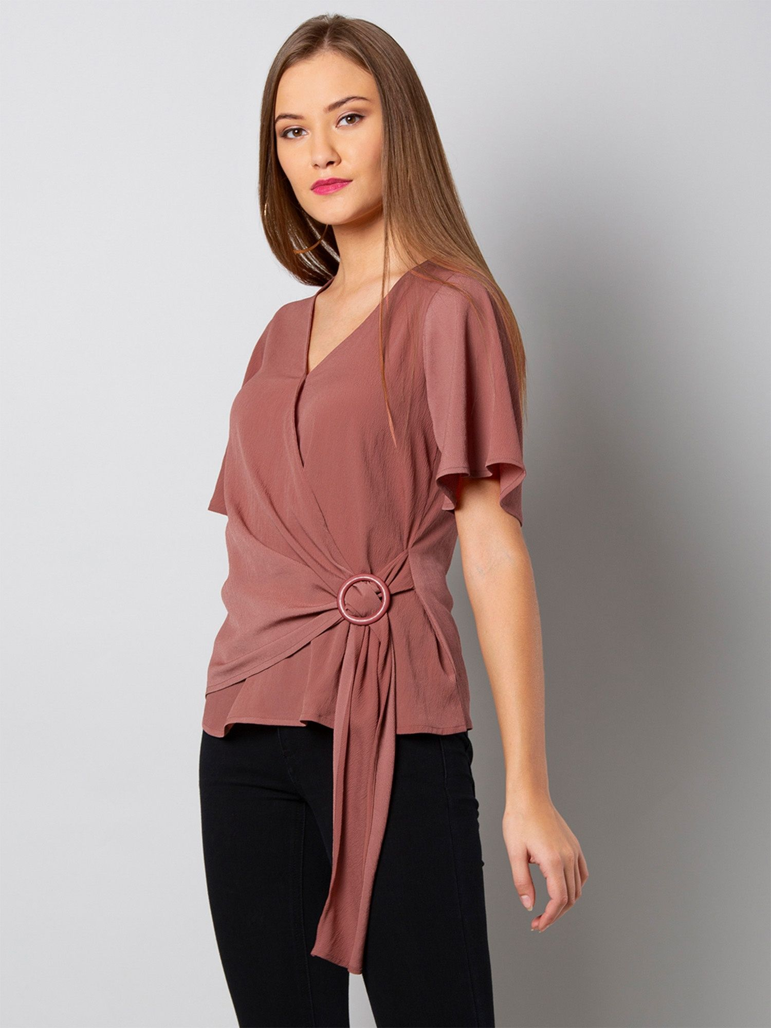 3190d82d135 Faballey Shirts Tops and Crop Tops   Buy Faballey Dusty Pink Flared ...