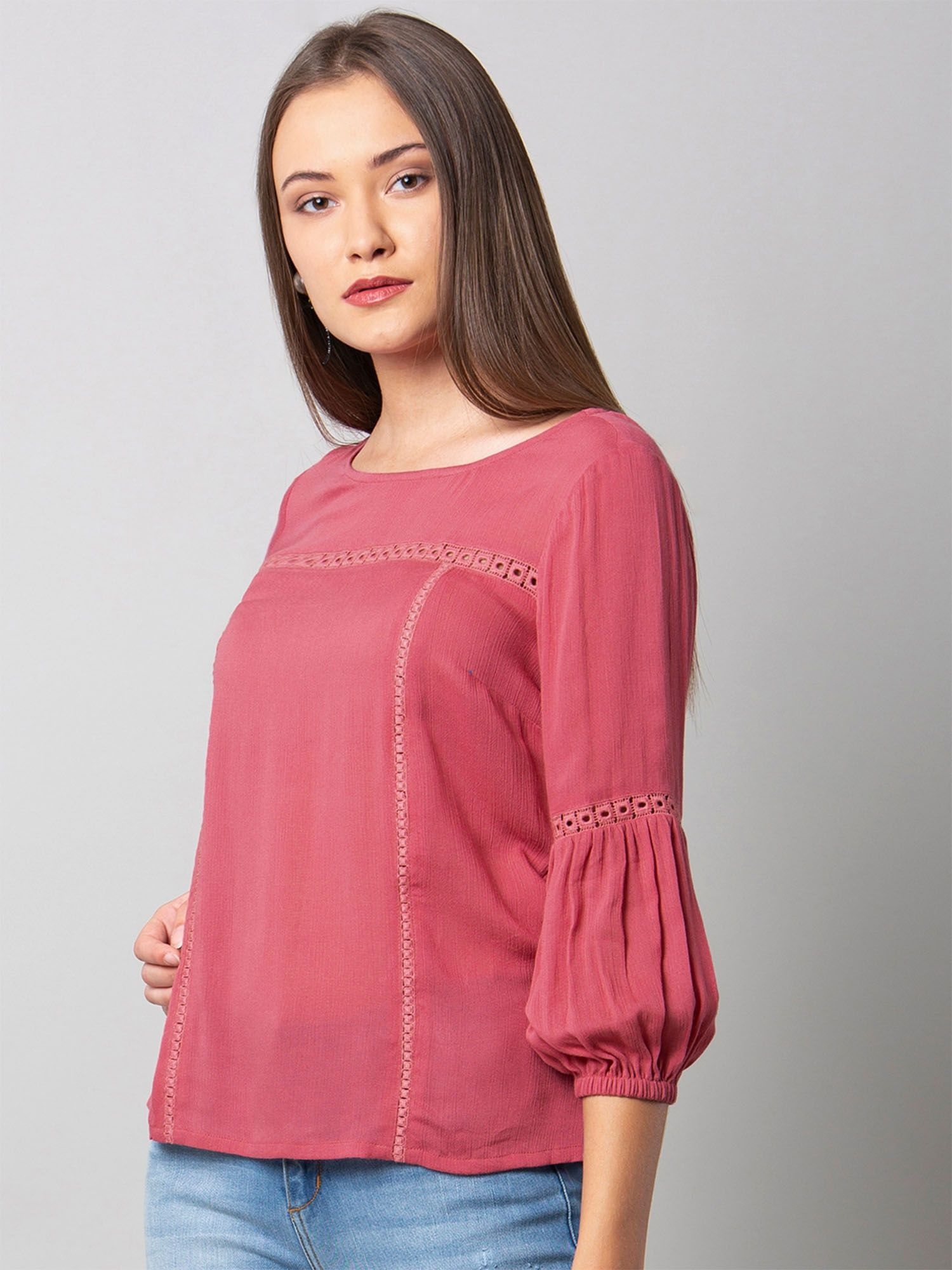 4d49ae9126b Faballey Shirts Tops and Crop Tops   Buy Faballey Pink Lace Insert ...