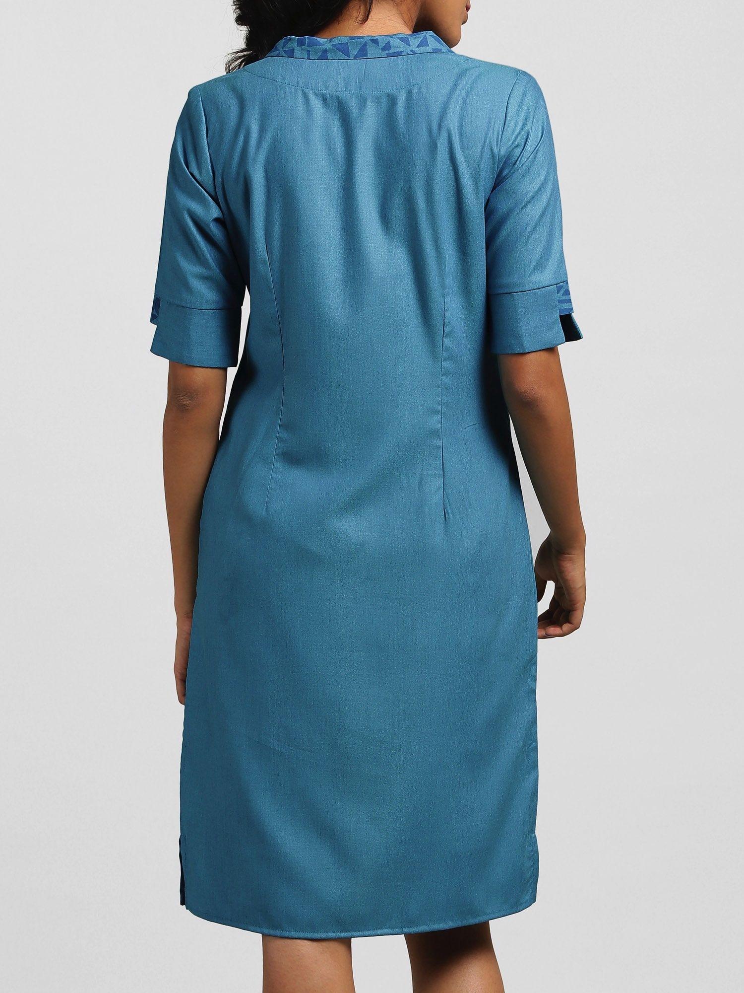 d50f373e32 FableStreet Dresses   Buy FableStreet Side Button Asymmetric Collar Block  Print Shift Dress - Malibu Blue Online