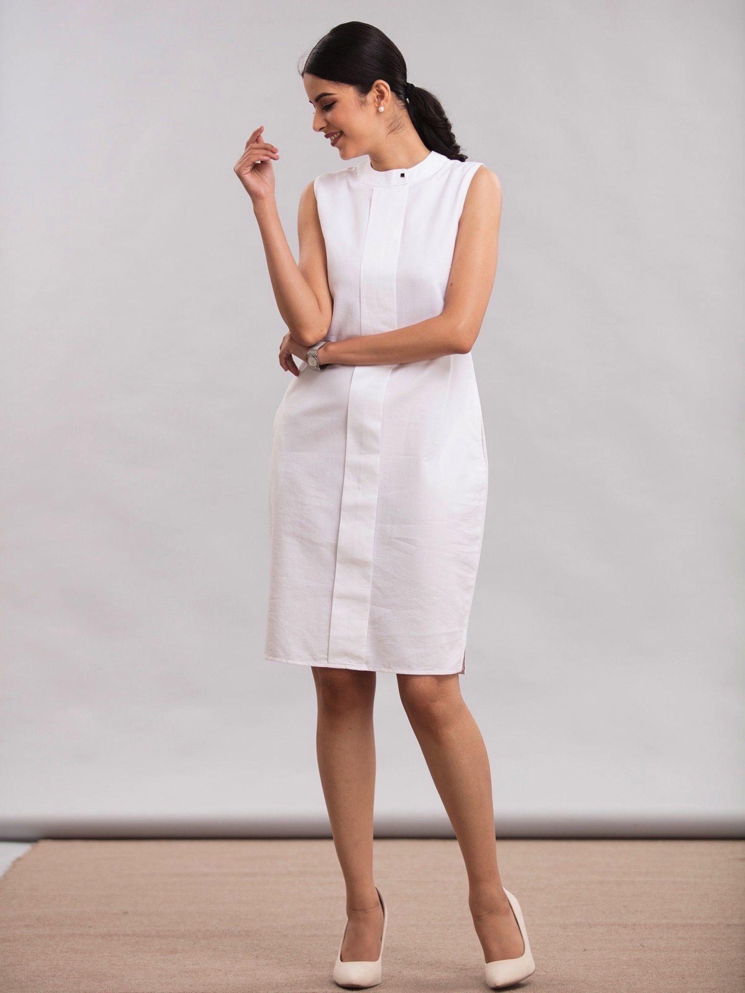 b519533176 FableStreet Dresses   Buy FableStreet Front Pleated Dress - White Online